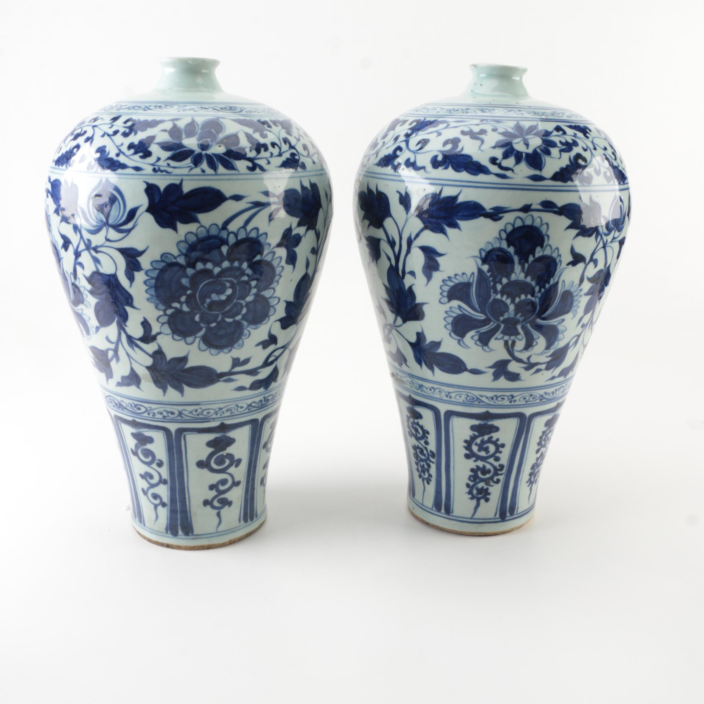 Blue and White Ceramic Urns