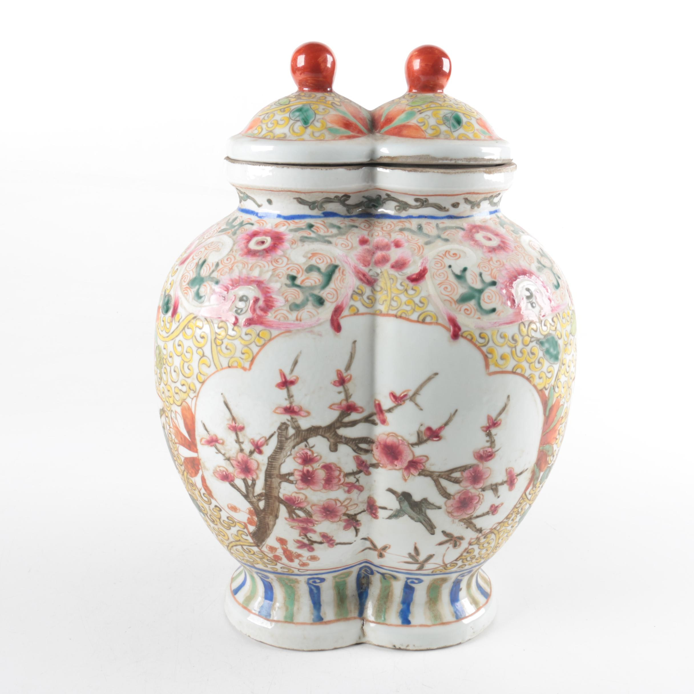 Chinoiserie Conjoined Urn from China