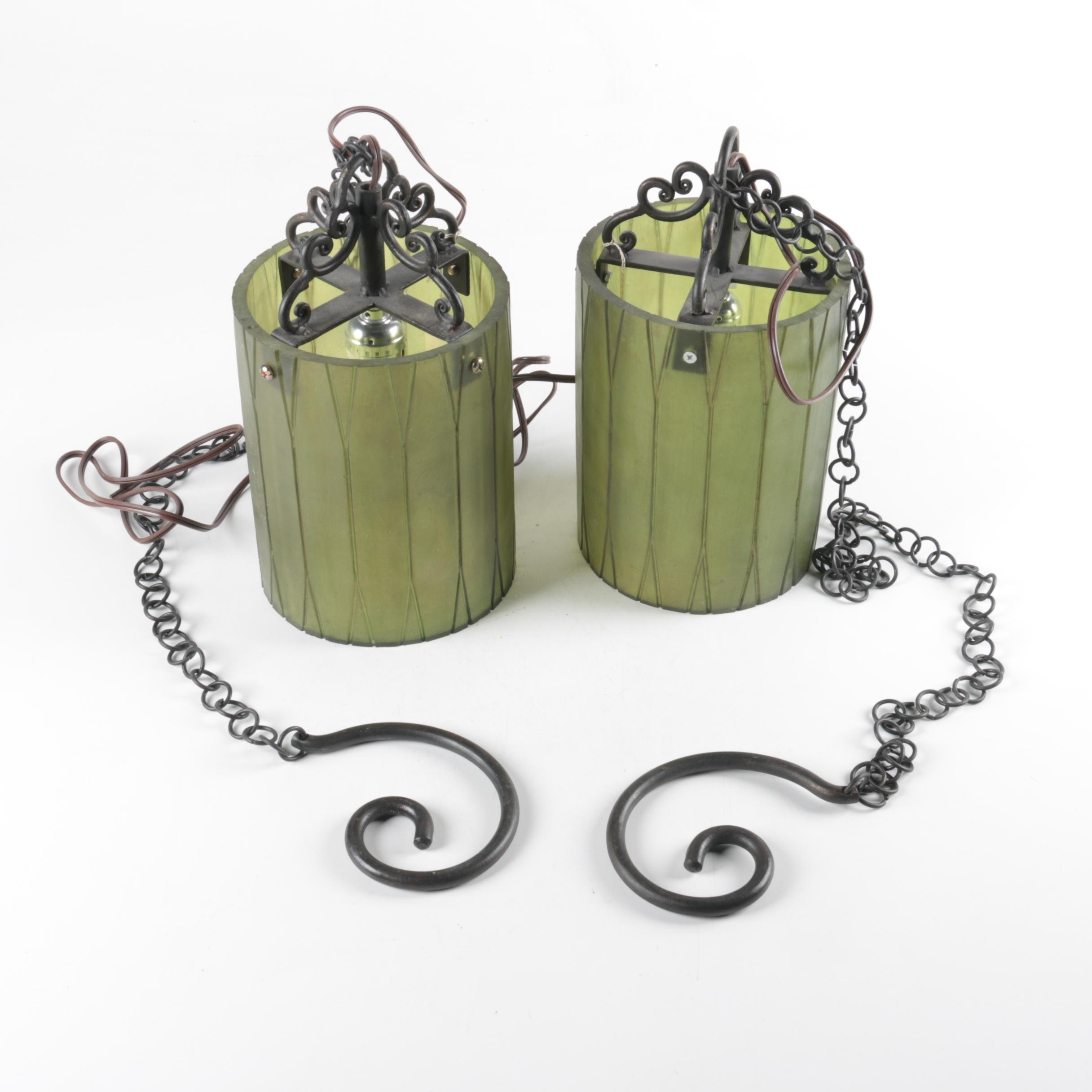 Pair of Glass and Metal Hanging Lights