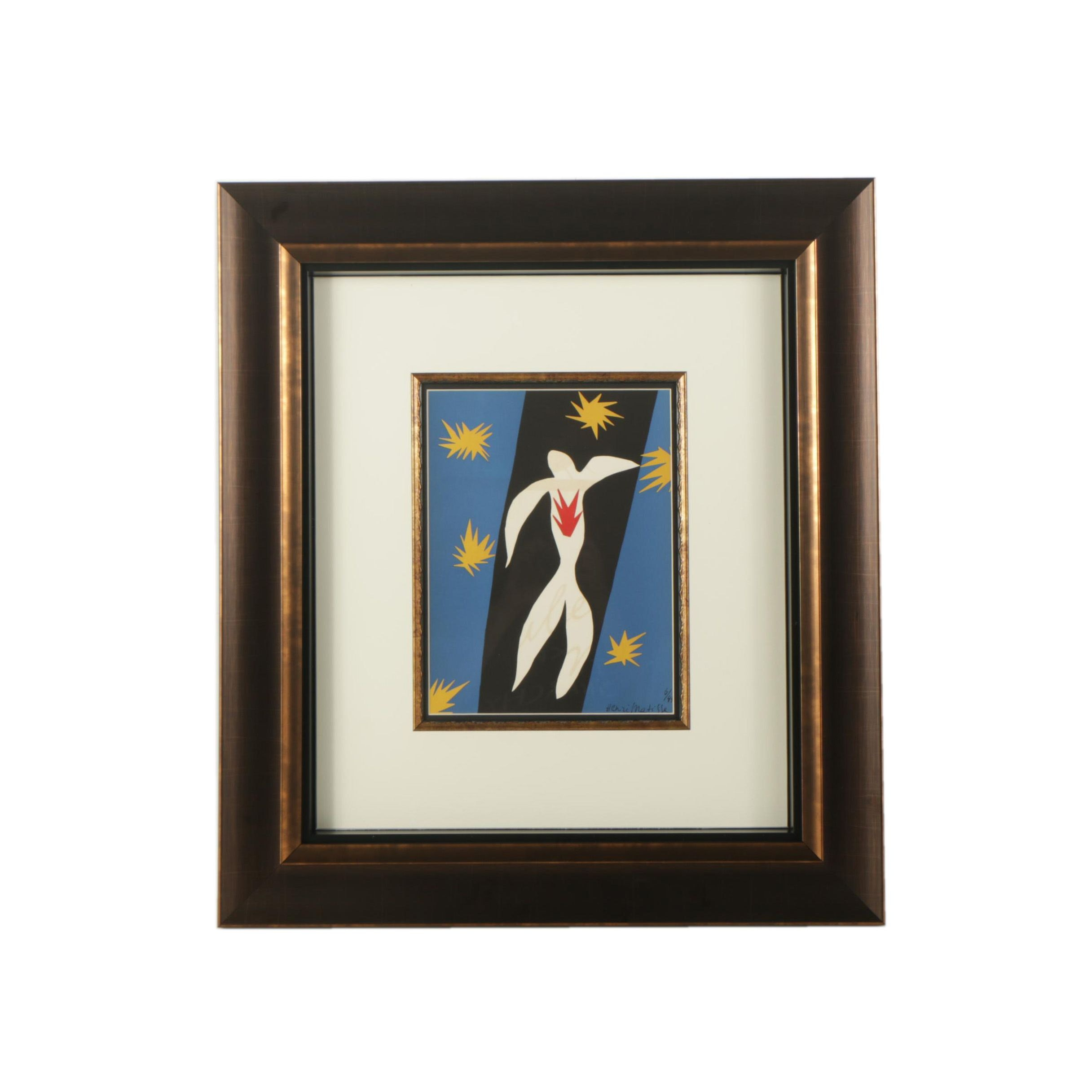 "Framed Lithograph After Henri Matisse ""La Chute d'Icare"""