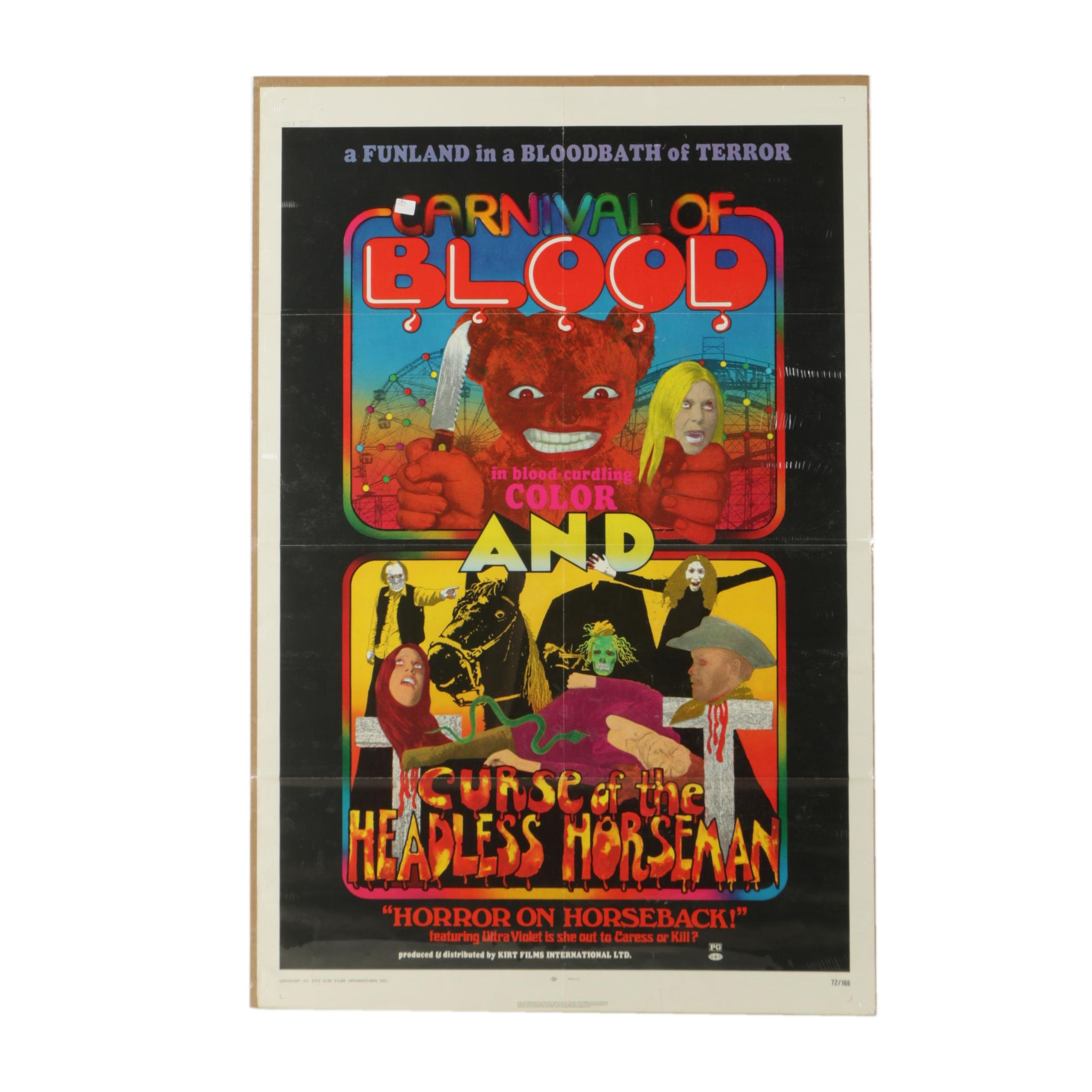 "Vintage Offset Lithograph Poster For Two Films Featuring ""Carnival of Blood"""