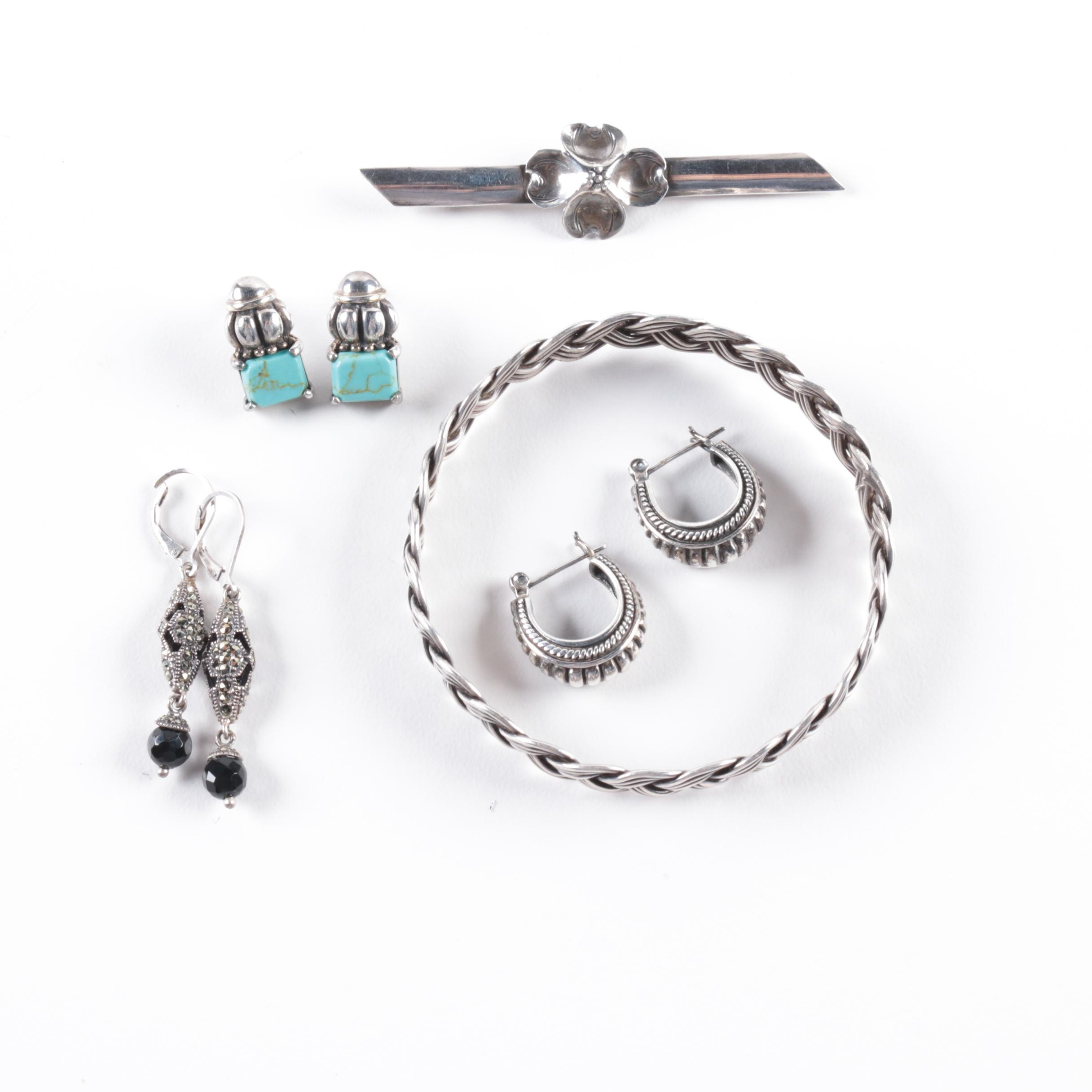 Stuart Nye Dogwood Brooch, Judith Jack Earrings and Other Sterling Jewelry