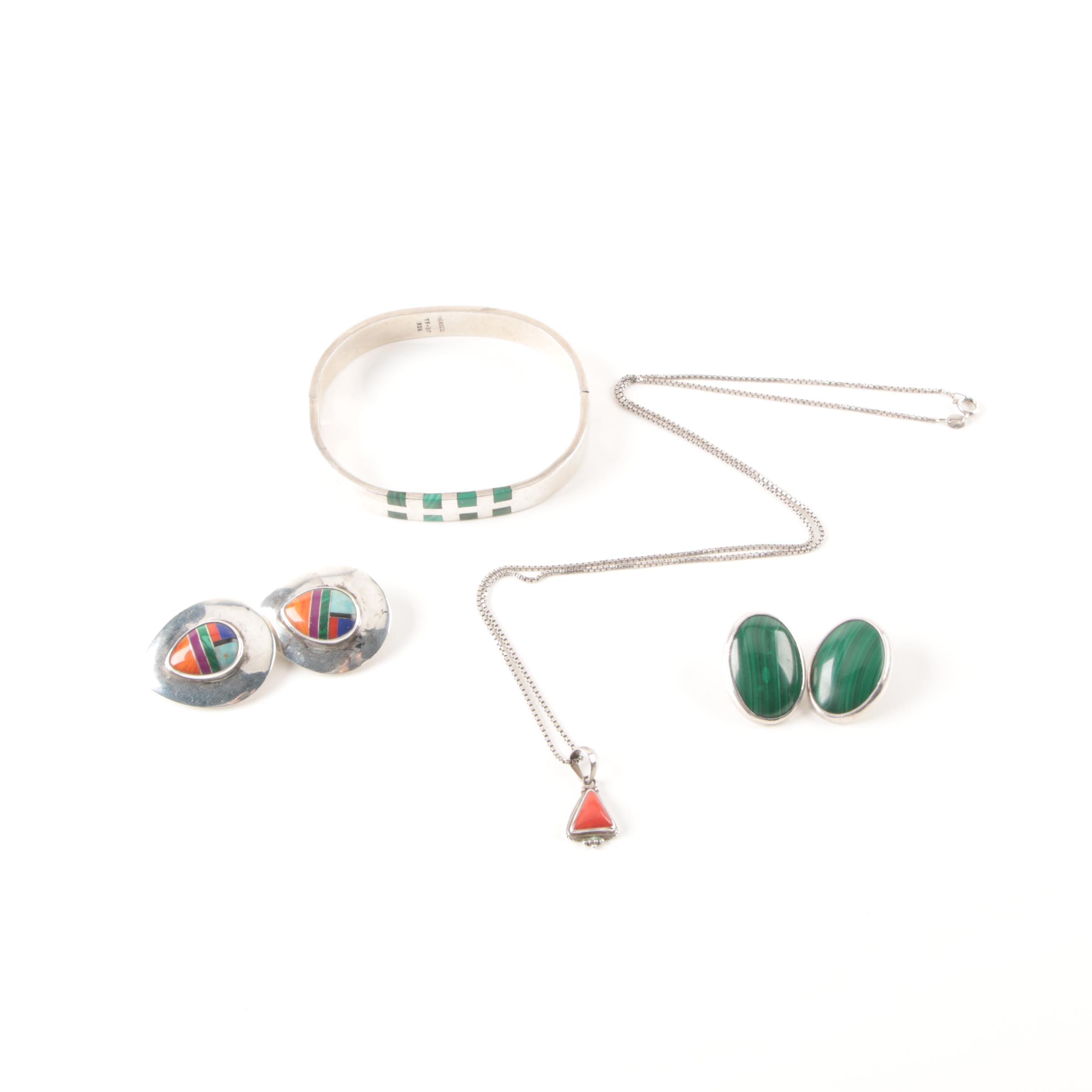 Southwest-Style Sterling Silver Jewelry with Stone Cabochons and Inlay