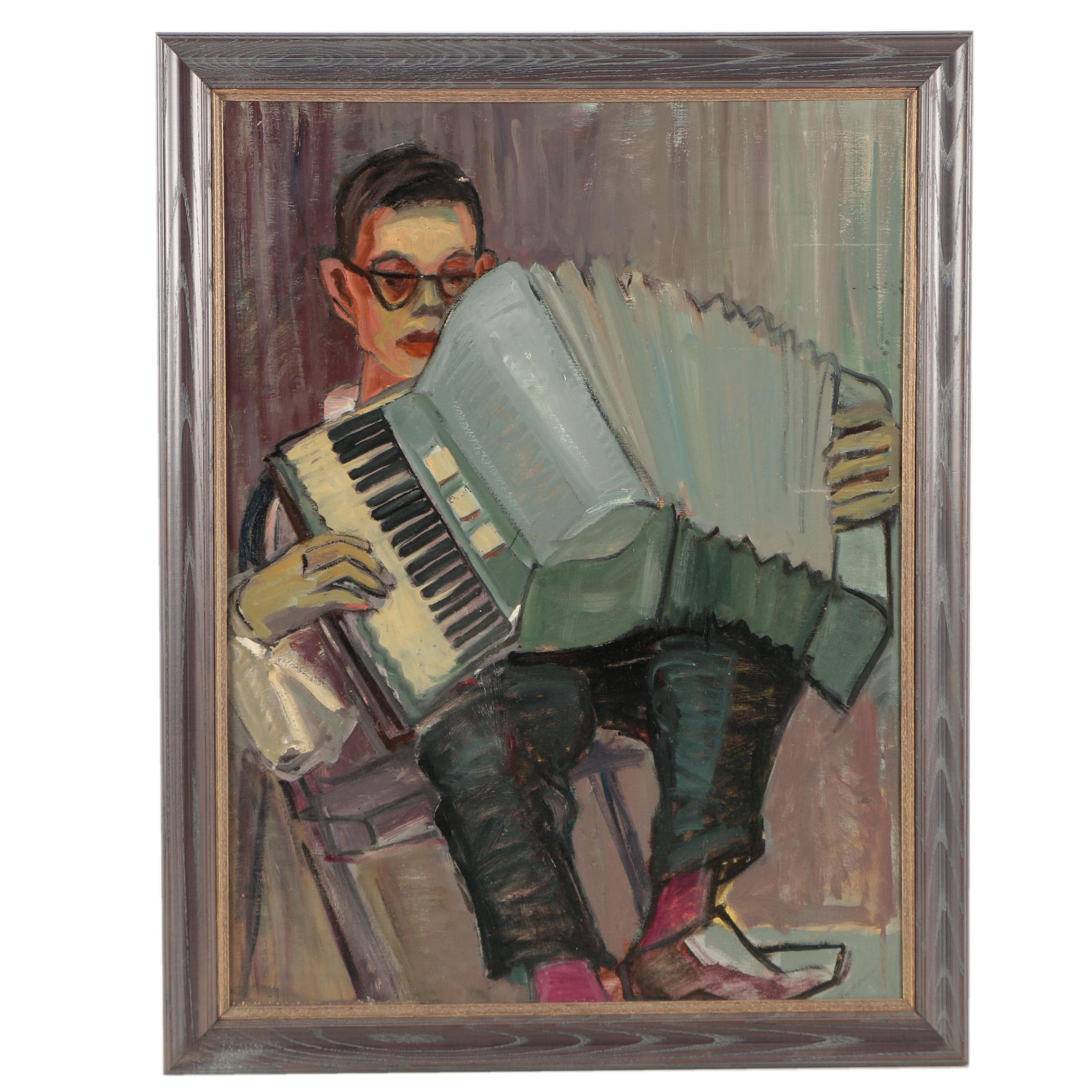 Pestow Oil Painting of a Young Man and Accordion on Canvas Board