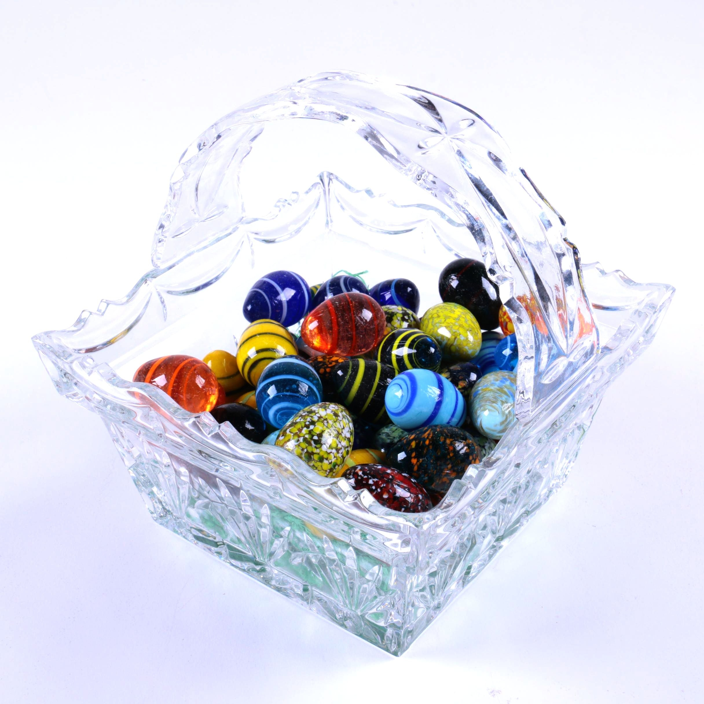 Glass Basket Dish with Glass Eggs
