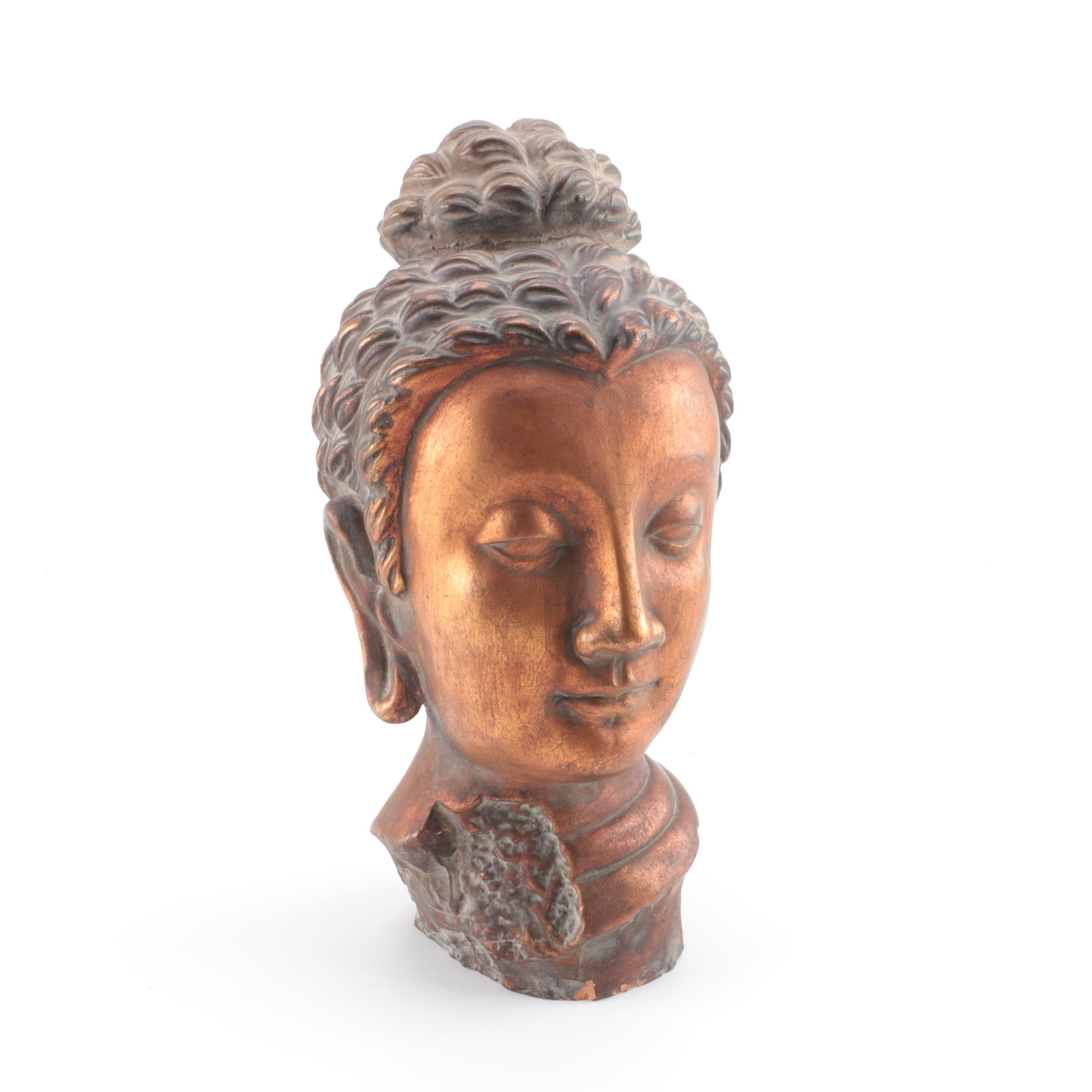 Chinese Ceramic Buddha Head Bust and Urn