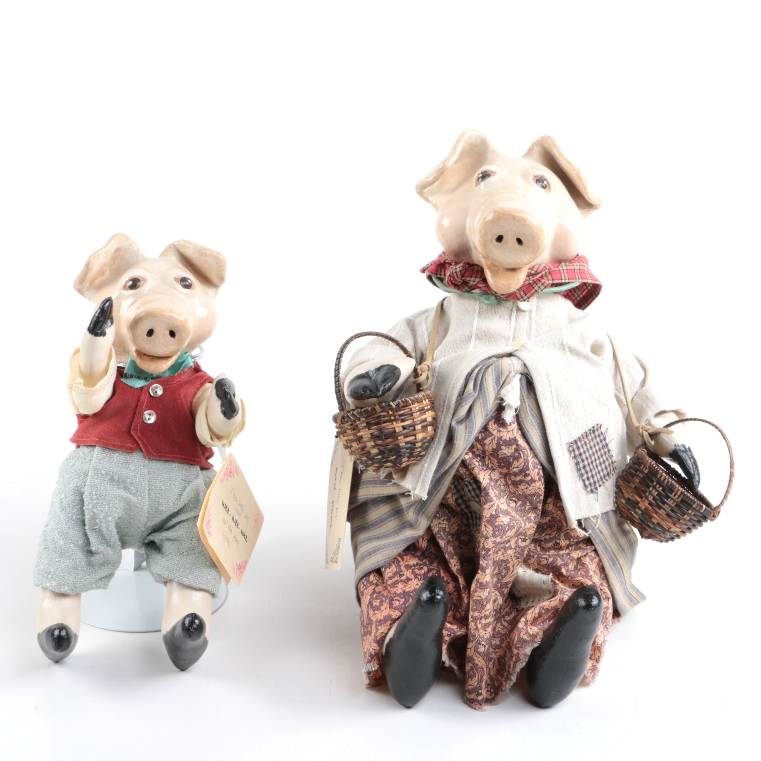 """This Little Pig"" Folk Art Dolls"