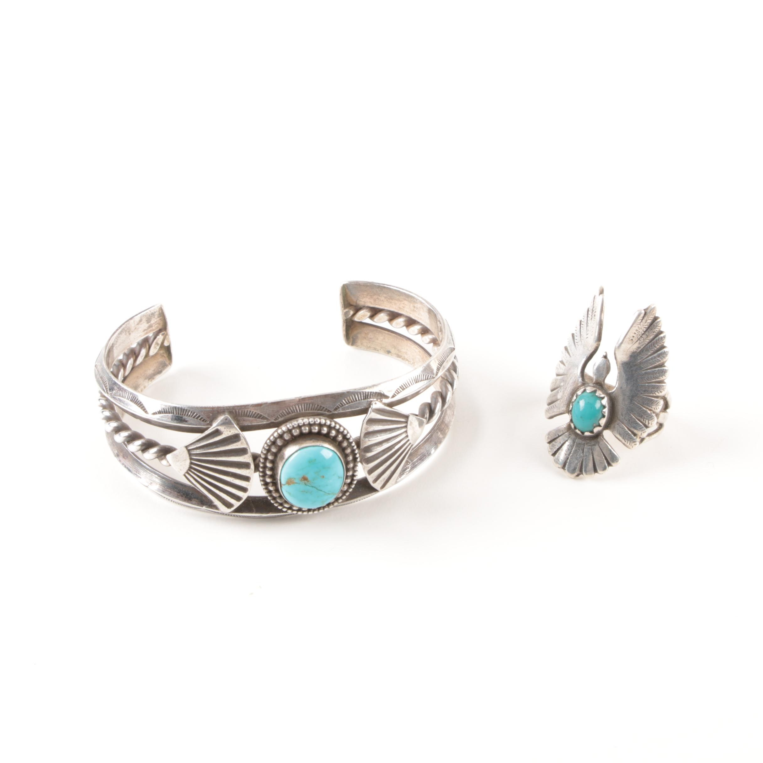Southwest-Style Sterling Silver Cuff Bracelet and Ring with Turquoise
