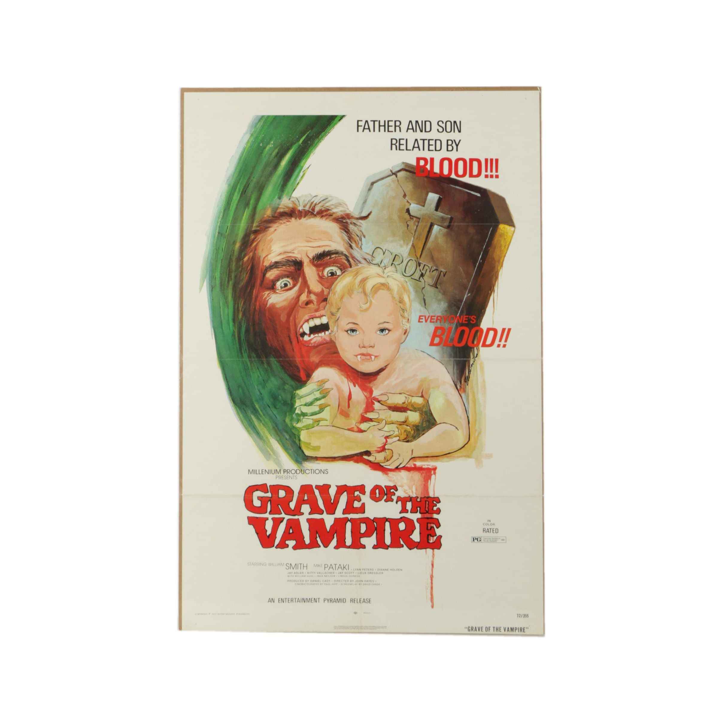 "Vintage Offset Lithograph Film Poster ""Grave of the Vampire"""