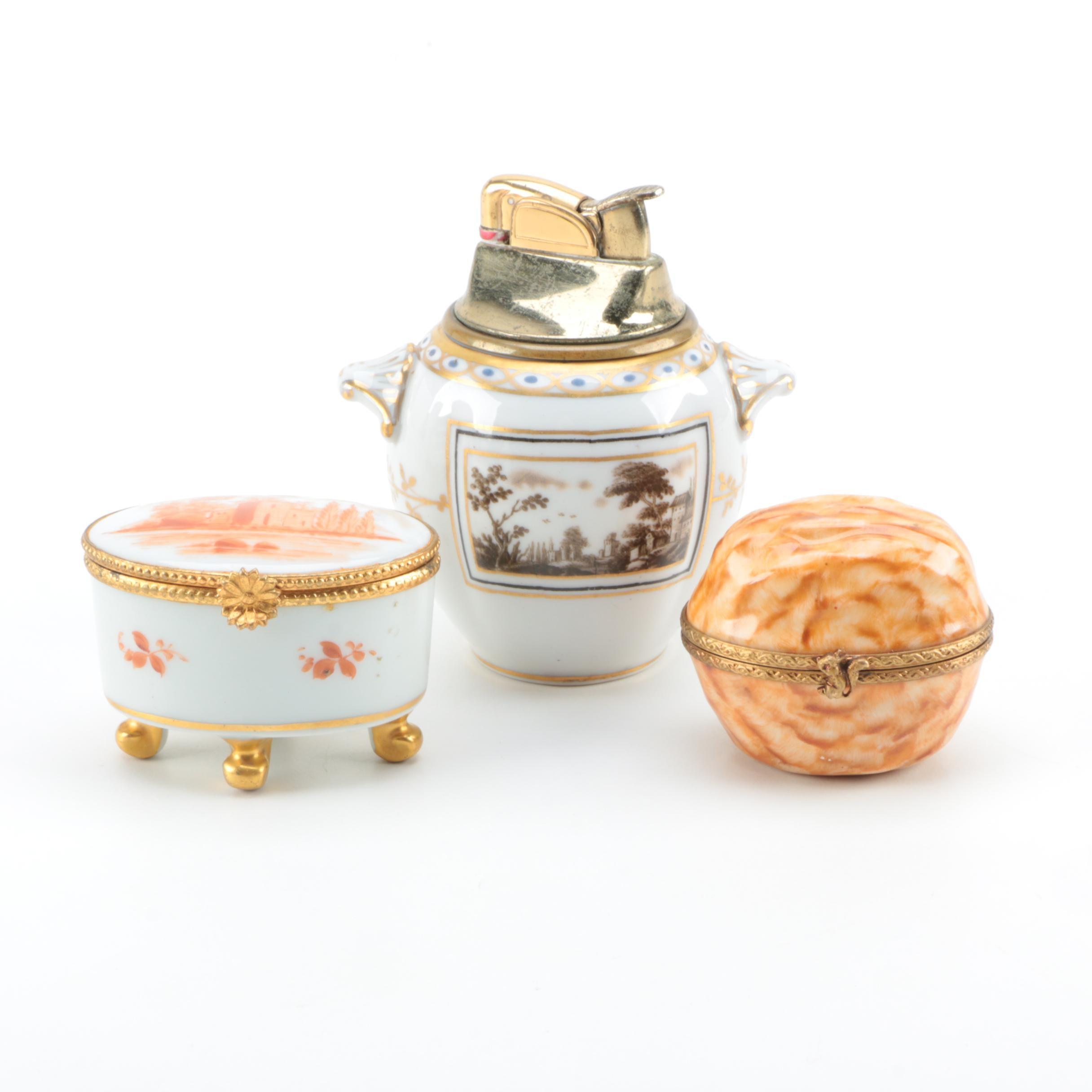 Limoges Trinket Boxes and Richard Ginori Porcelain Refillable Lighter