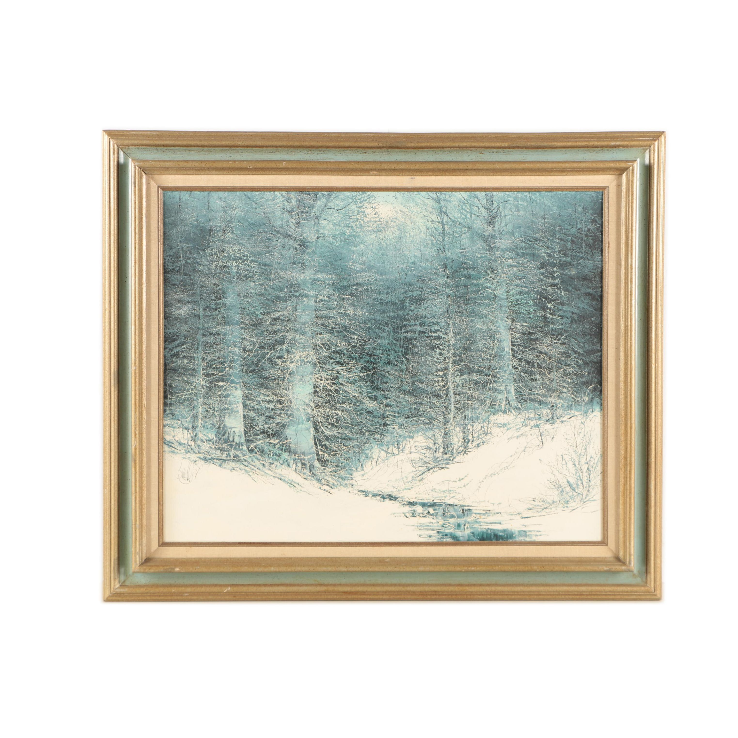 Joe Shell Oil Painting of a Snow-Covered Clearing