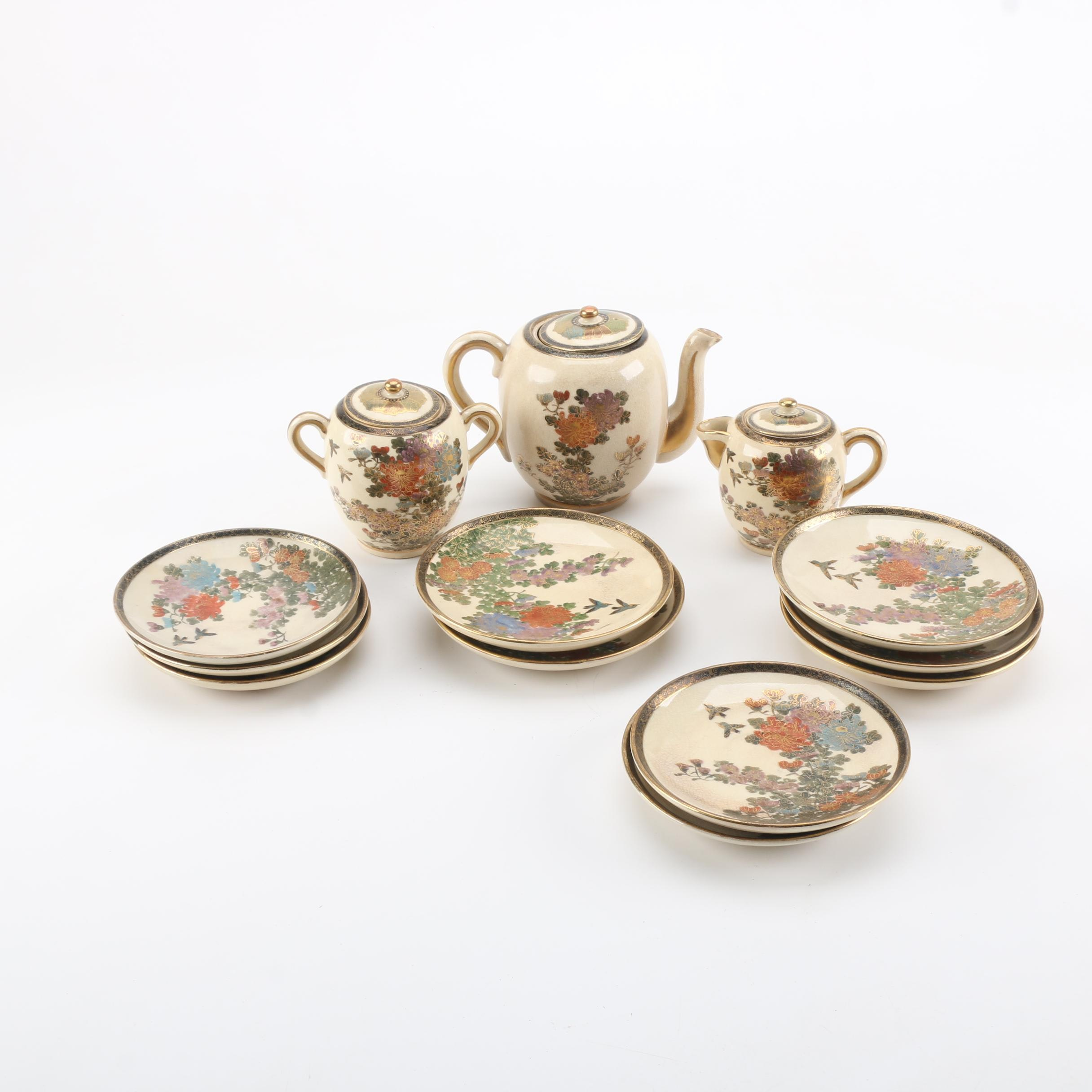 "Hand-painted Japanese ""Kutani"" Porcelain Tableware"