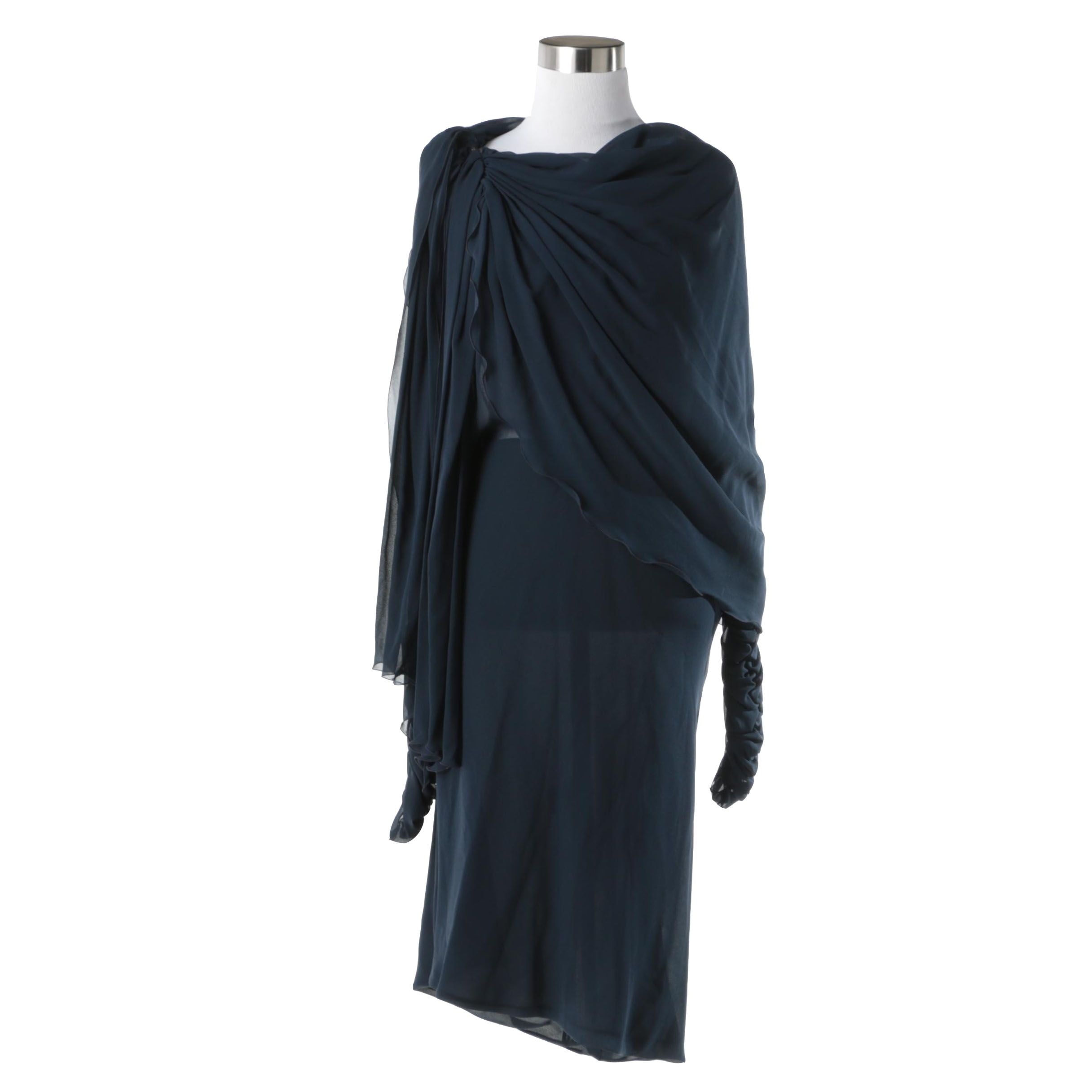 Women's Navy Blue Chiffon Dress