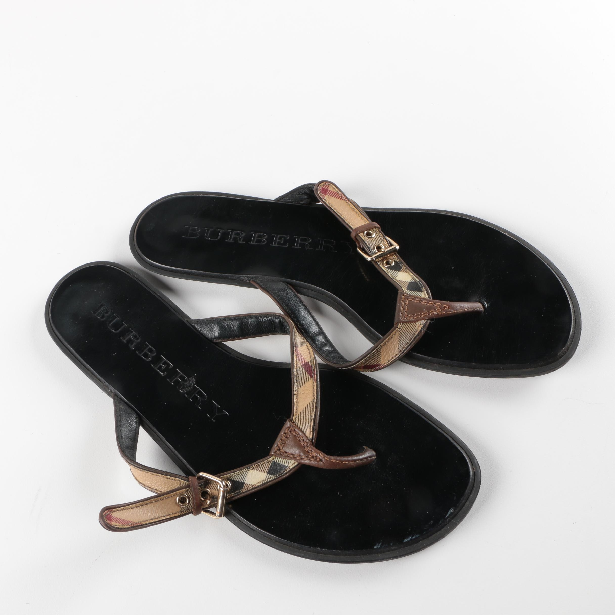 Burberry Parsons Leather Flip Flops