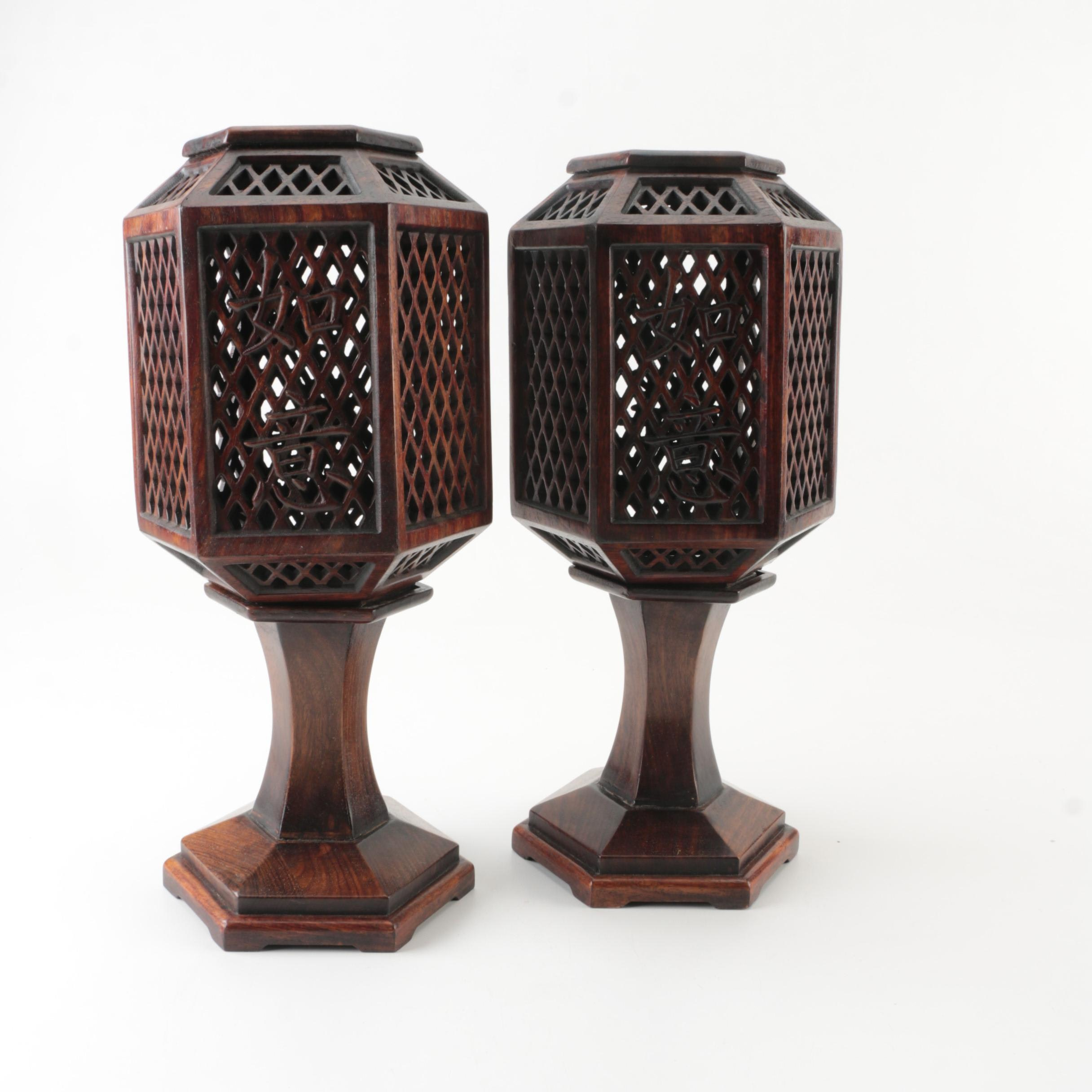 Chinese Wooden Lantern Candle Holders