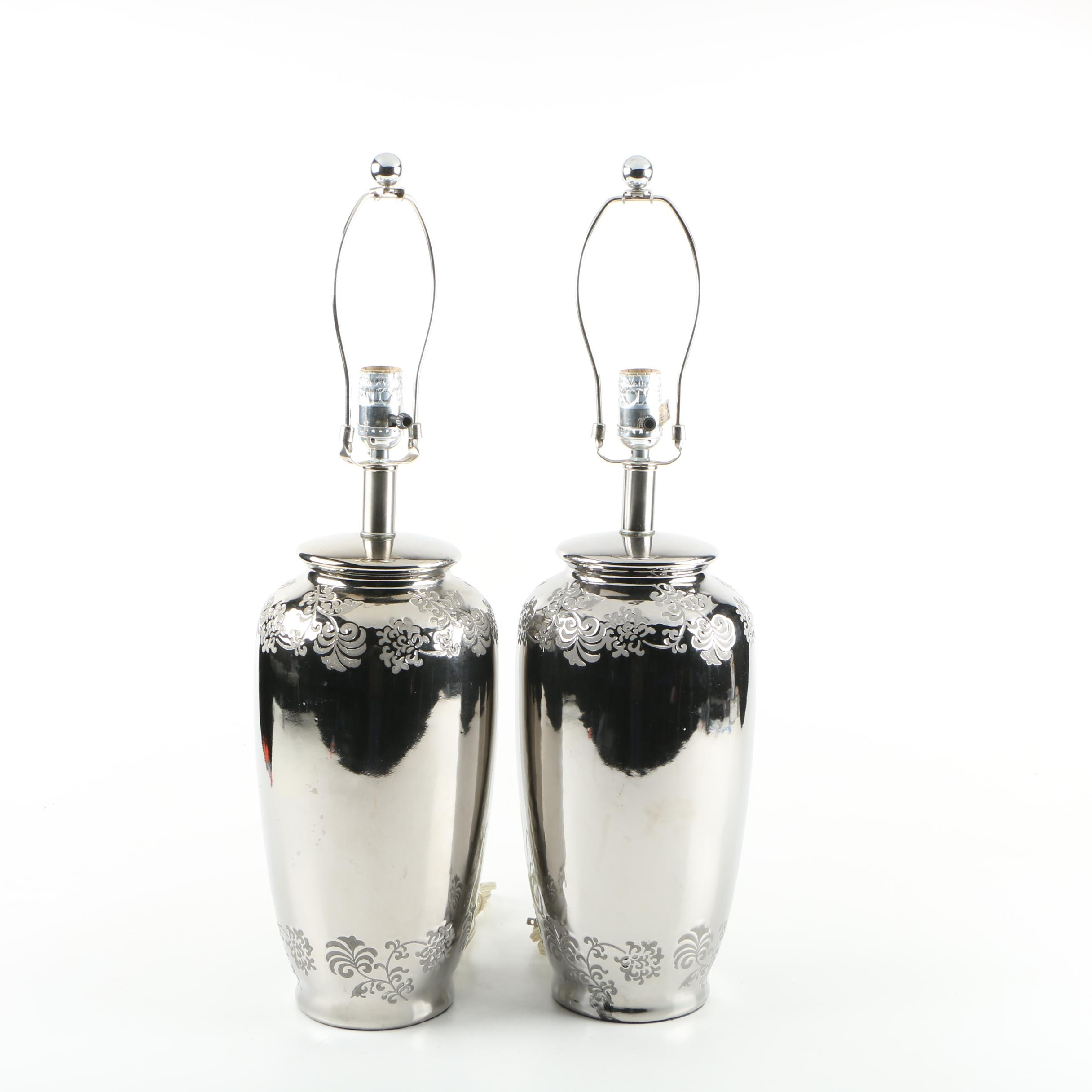 Silver Tone Metal Urn Style Table Lamp Pair