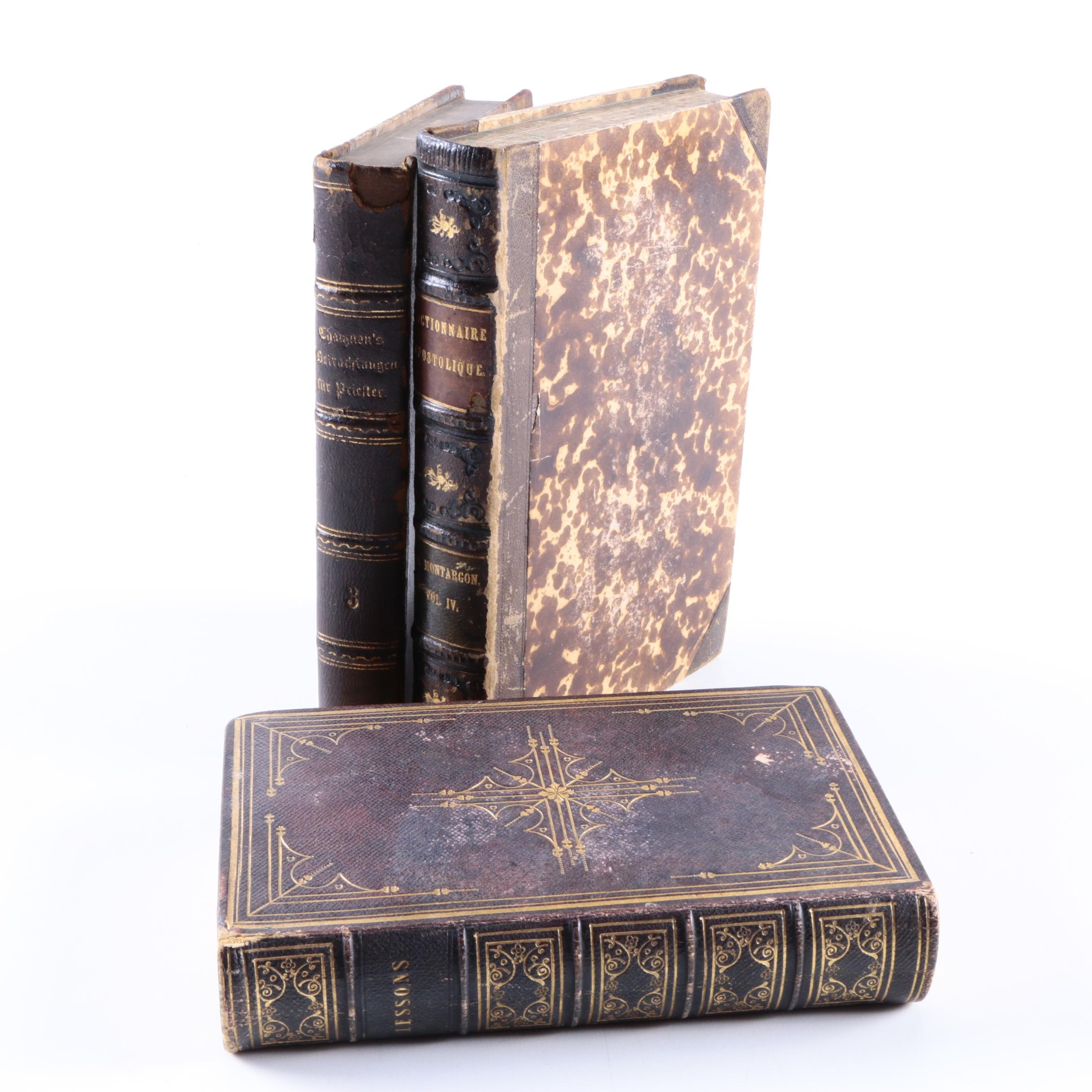 Collection of 19th Century Leather Bound Reference Books