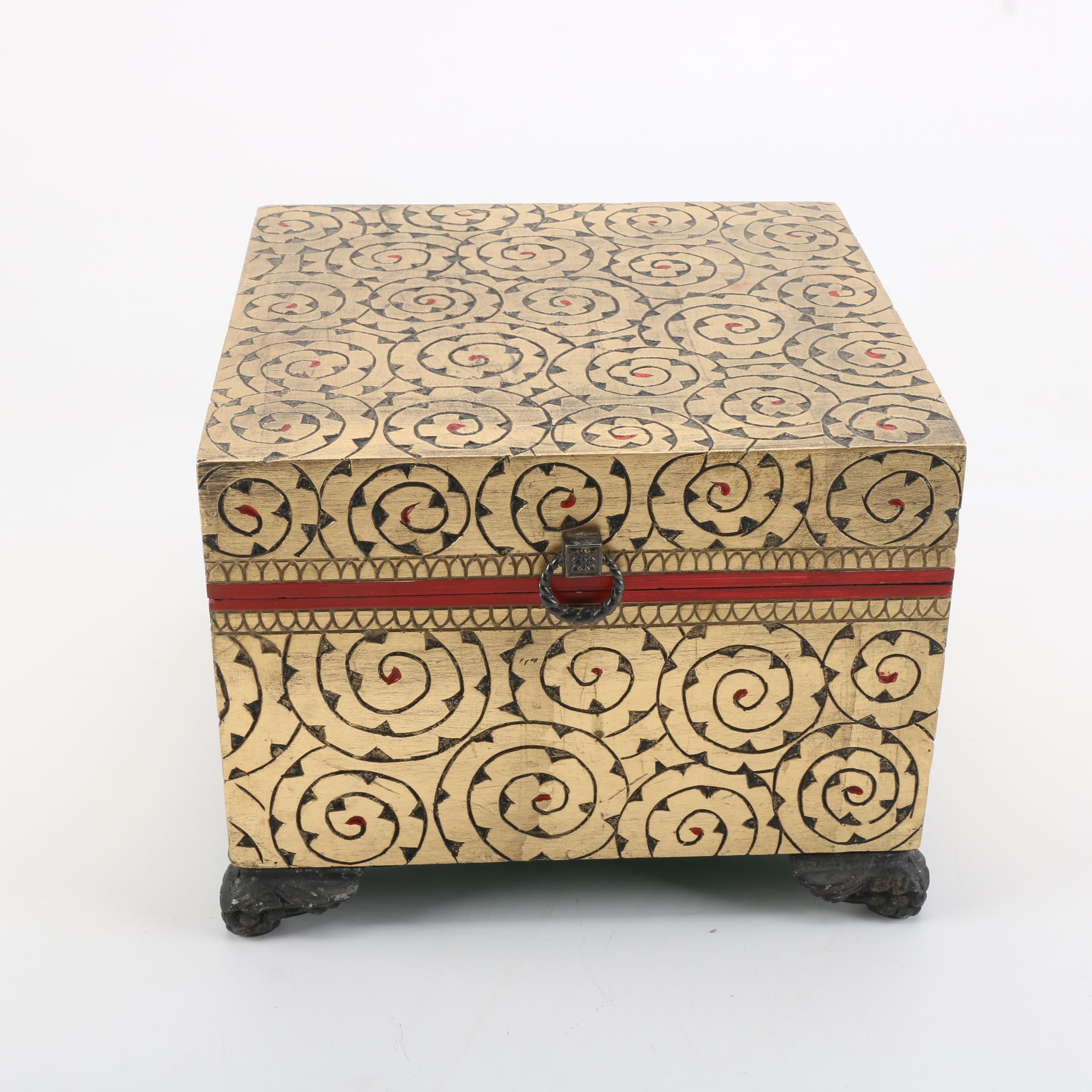 Scrolled Gold Tone Wooden Chest