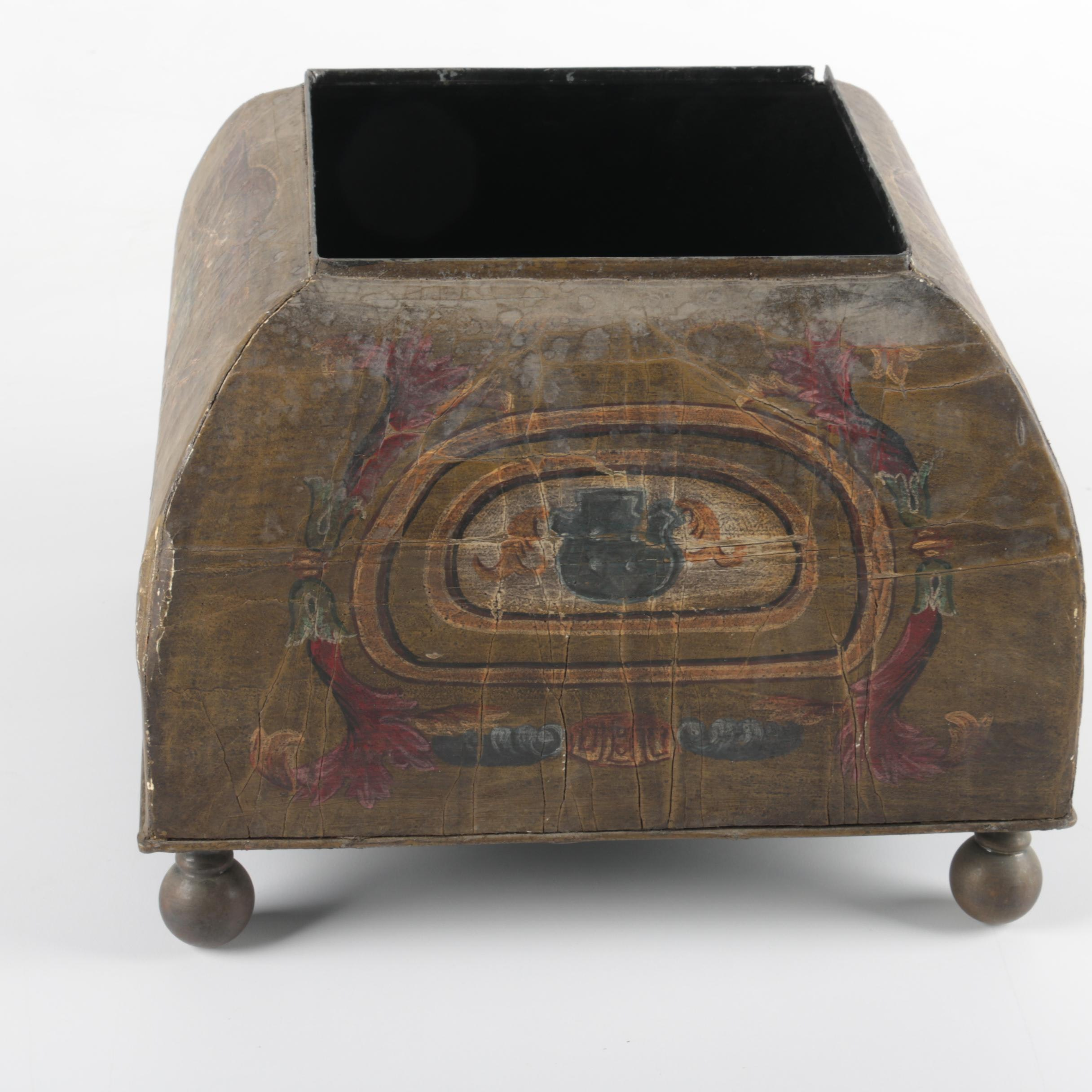Painted Footed Metal Box