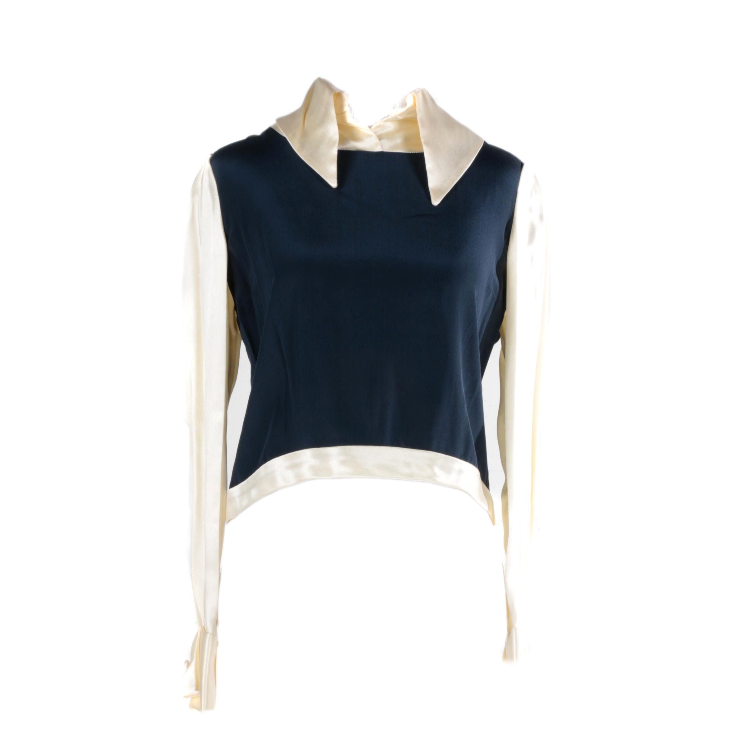 Women's Vintage Circa 1970s Cardinali Cream and Blue Dress Shirt