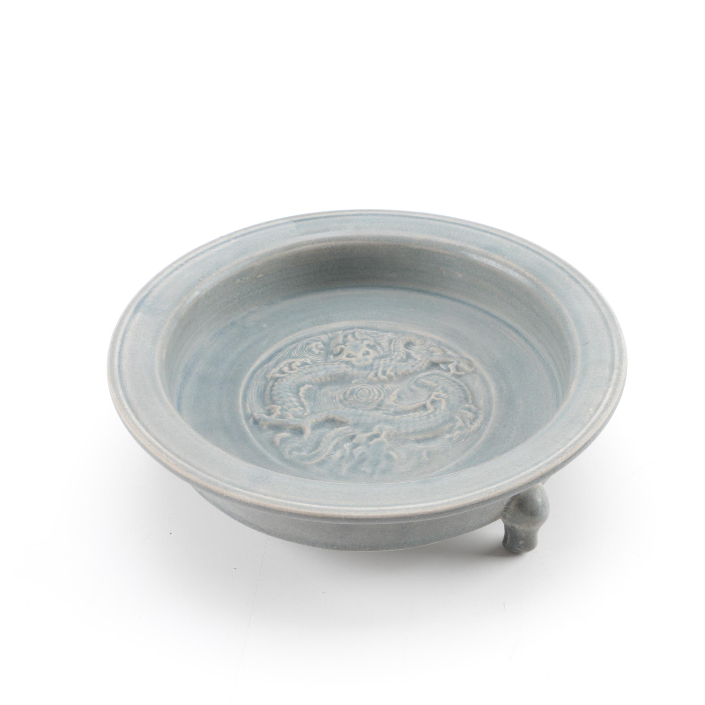 Chinese Footed Celadon Ceramic Dish
