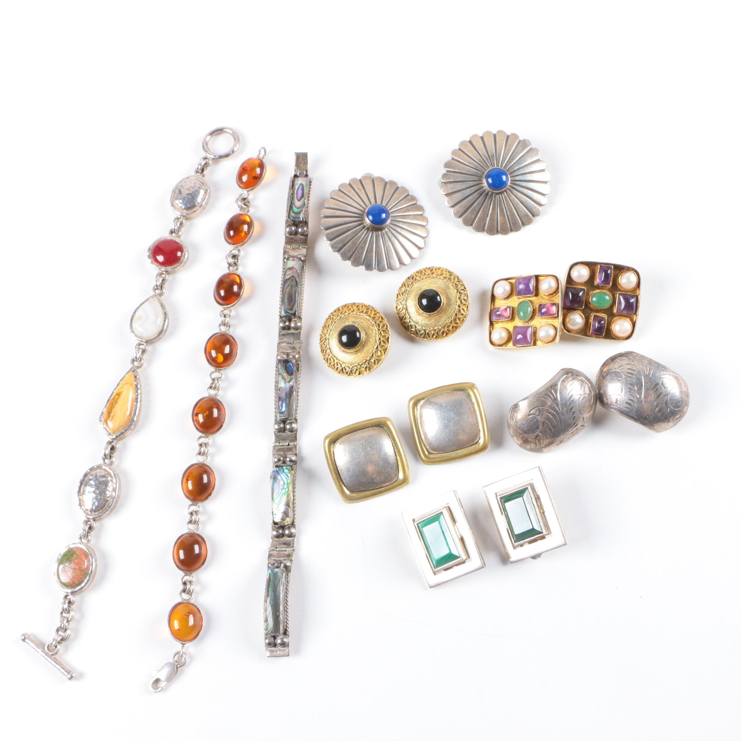 Assortment of Sterling Silver Bracelets and Earrings Including Abalone