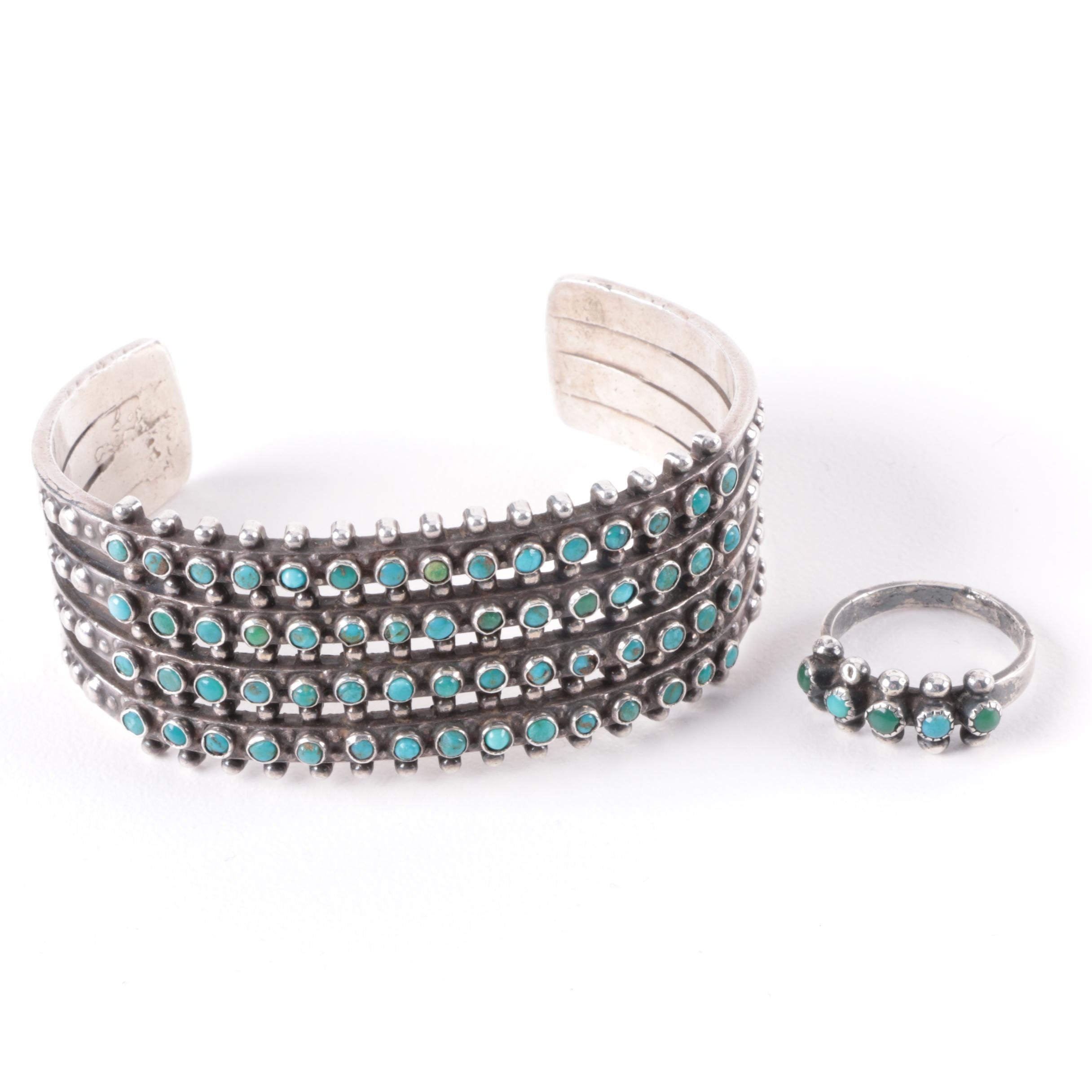 Southwest Style Sterling and Turquoise Petit Point Cuff Bracelet and Ring
