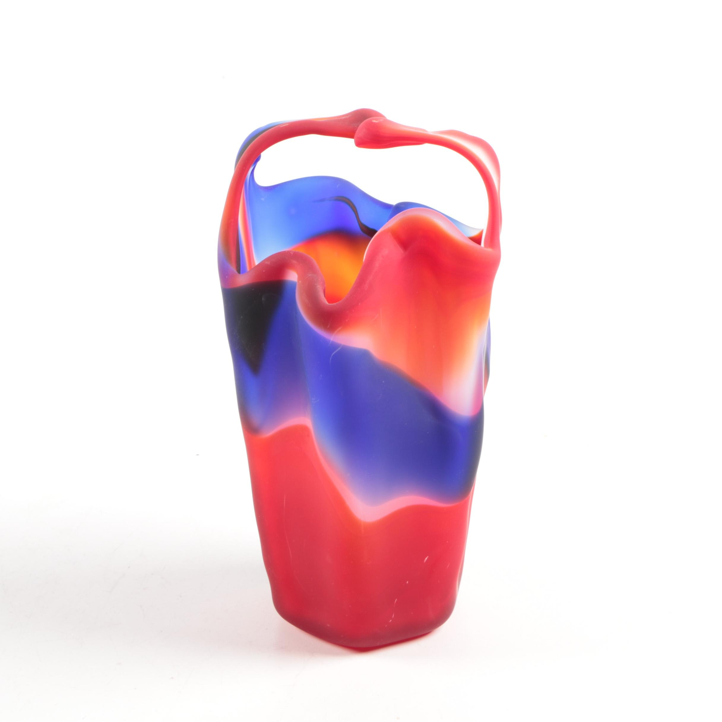Red, White and Blue Glass Vase