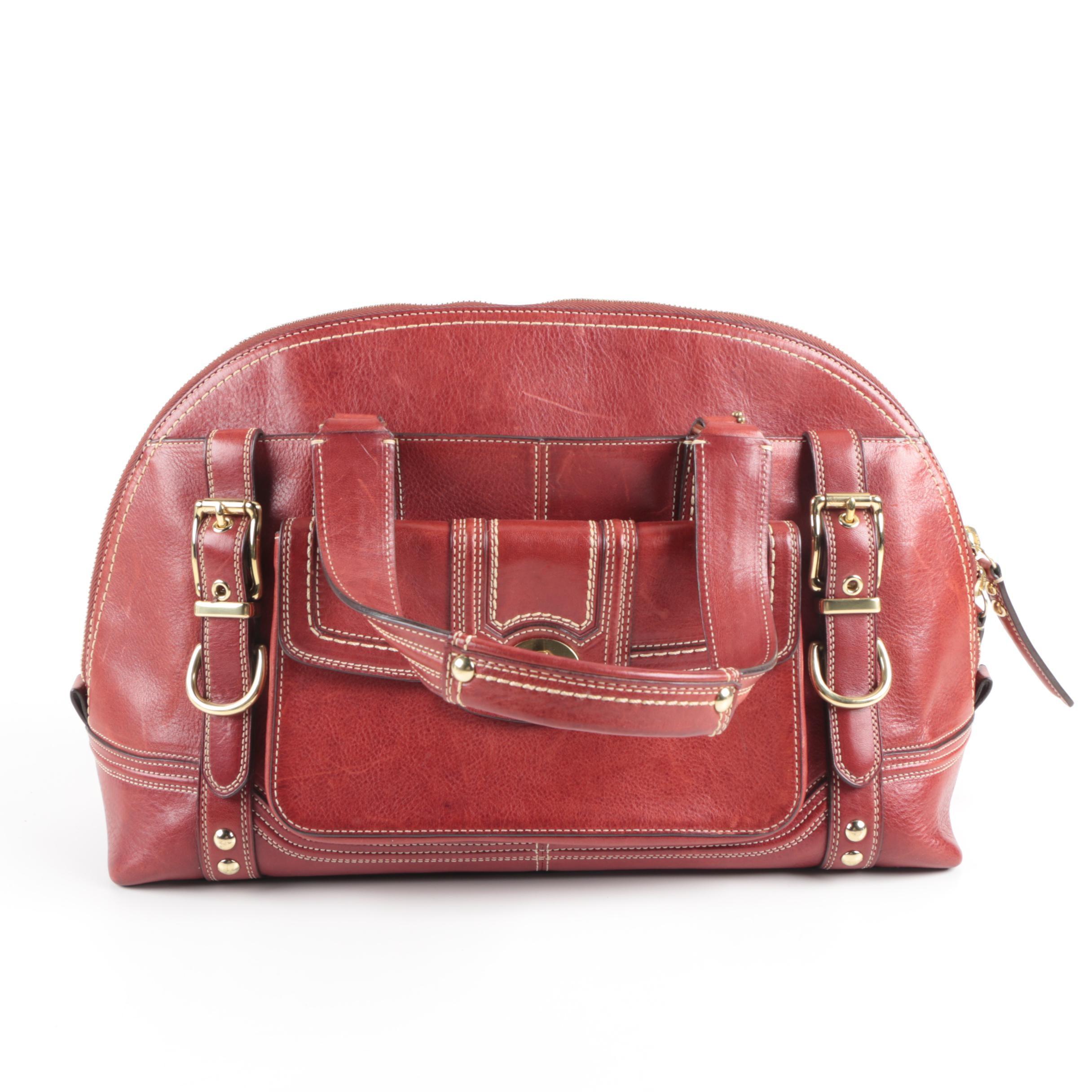 Vintage Coach  Miranda Red Leather Satchel Bag