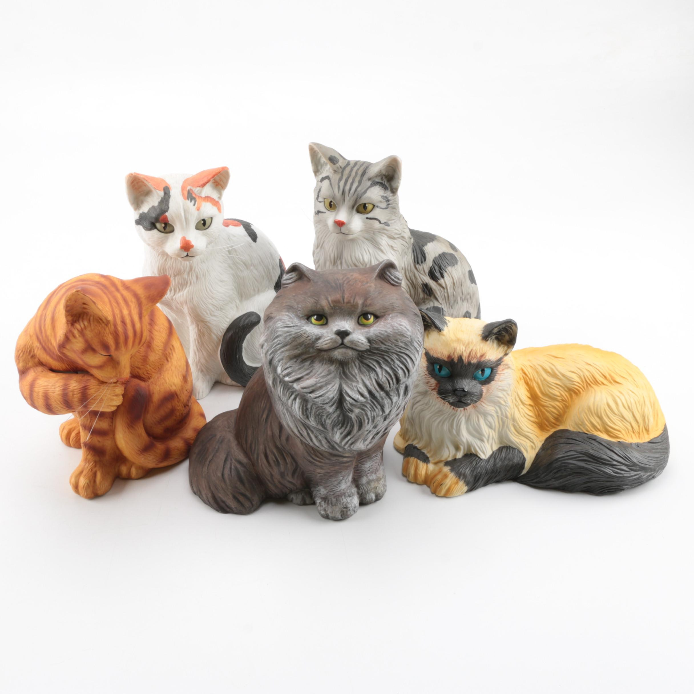 Ceramic Bisque Cat Figurines by Mann