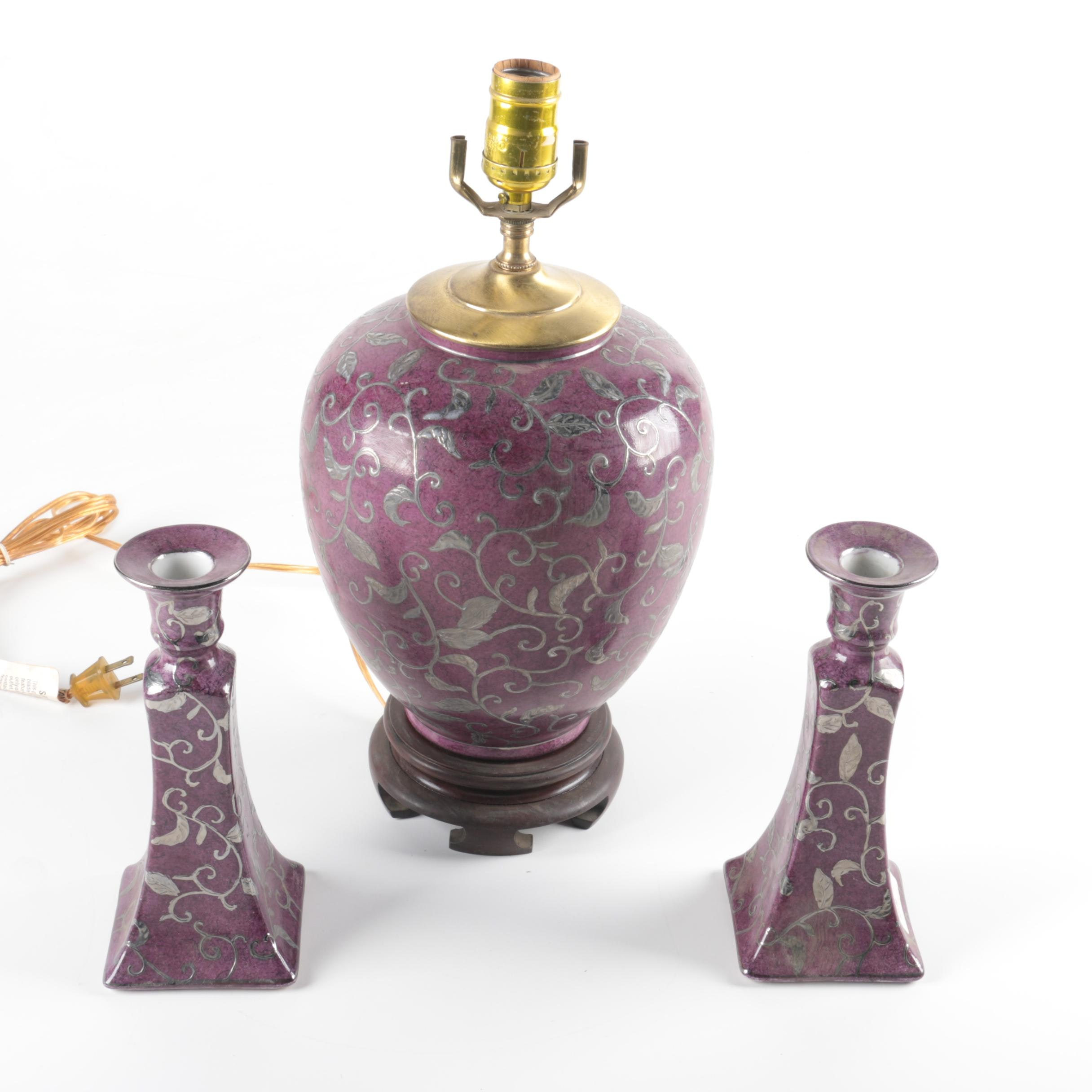 Asian Inspired Purple Table Lamp and Candle Holders