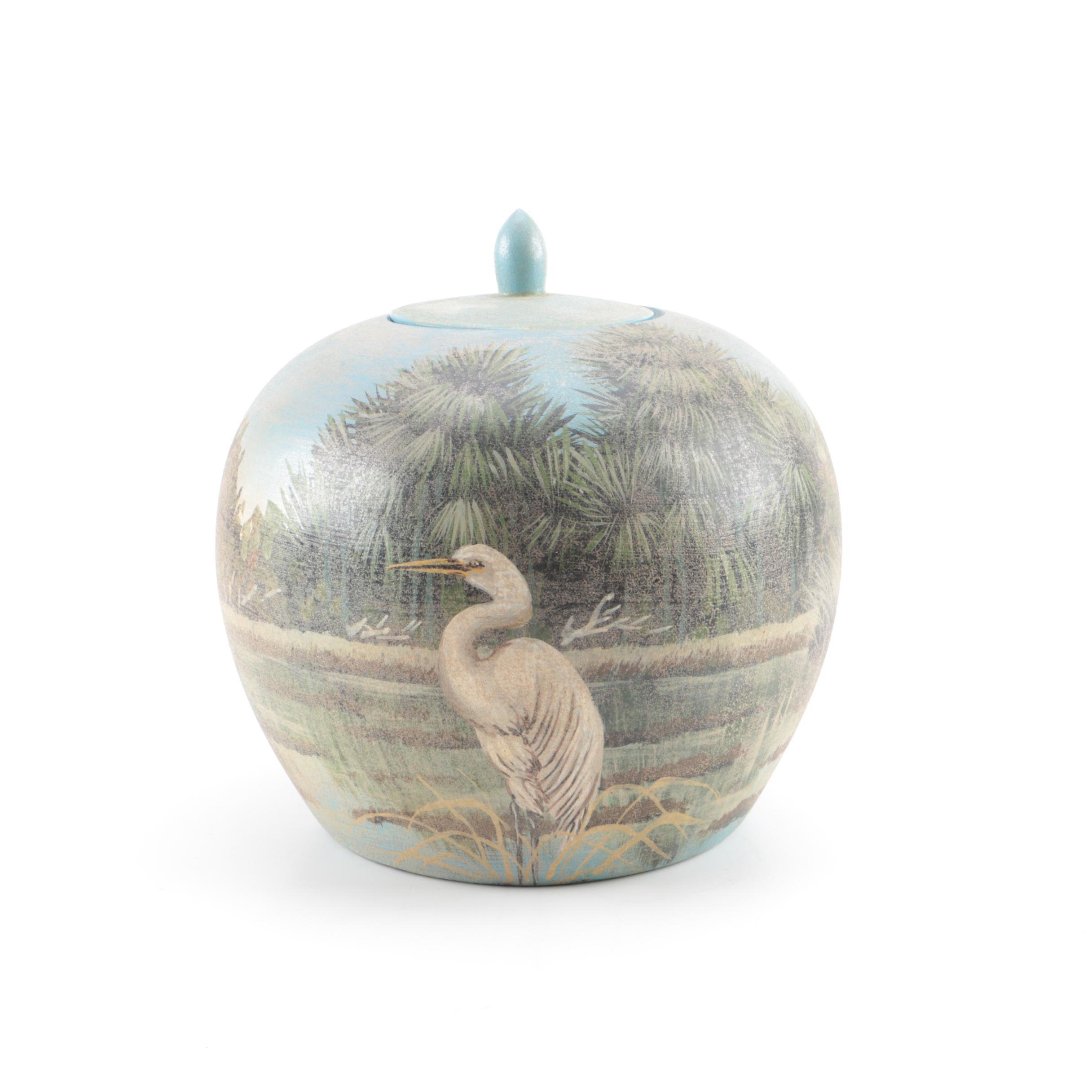 Chinese Ceramic Lidded Urn