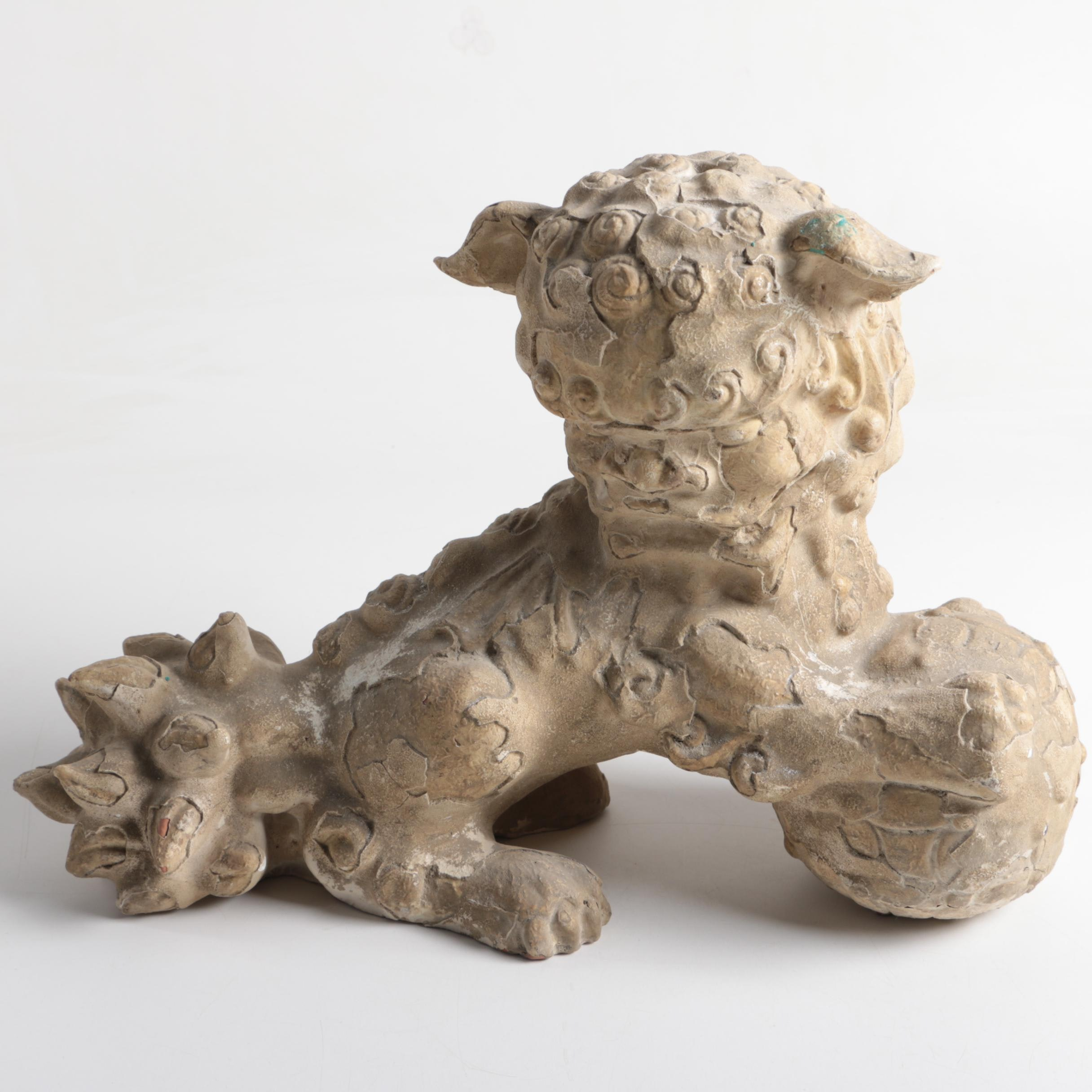 Chinese Inspired Ceramic Guardian Lion with Ball Figurine