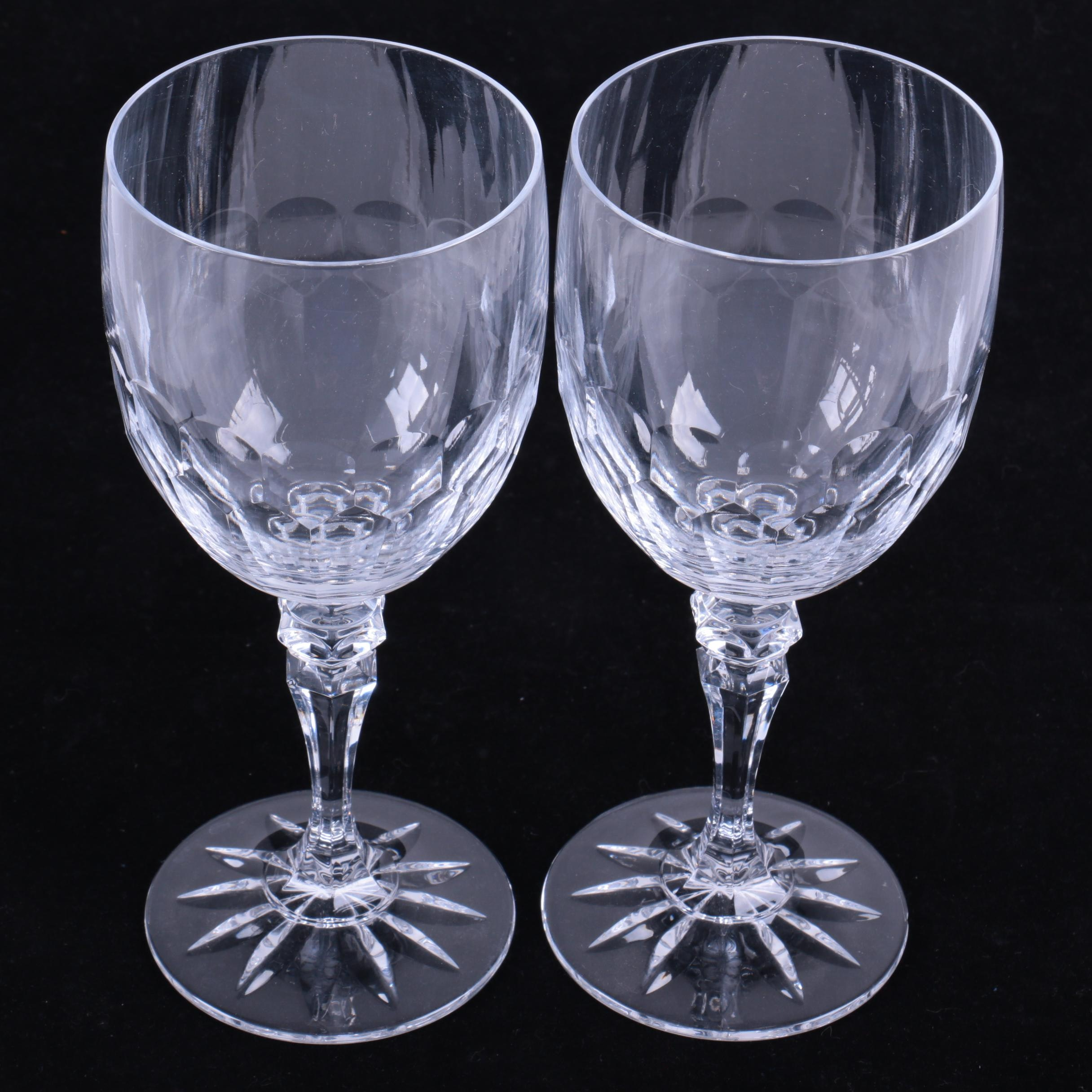 Pair of Thumbprint Cut Crystal Wine Glasses