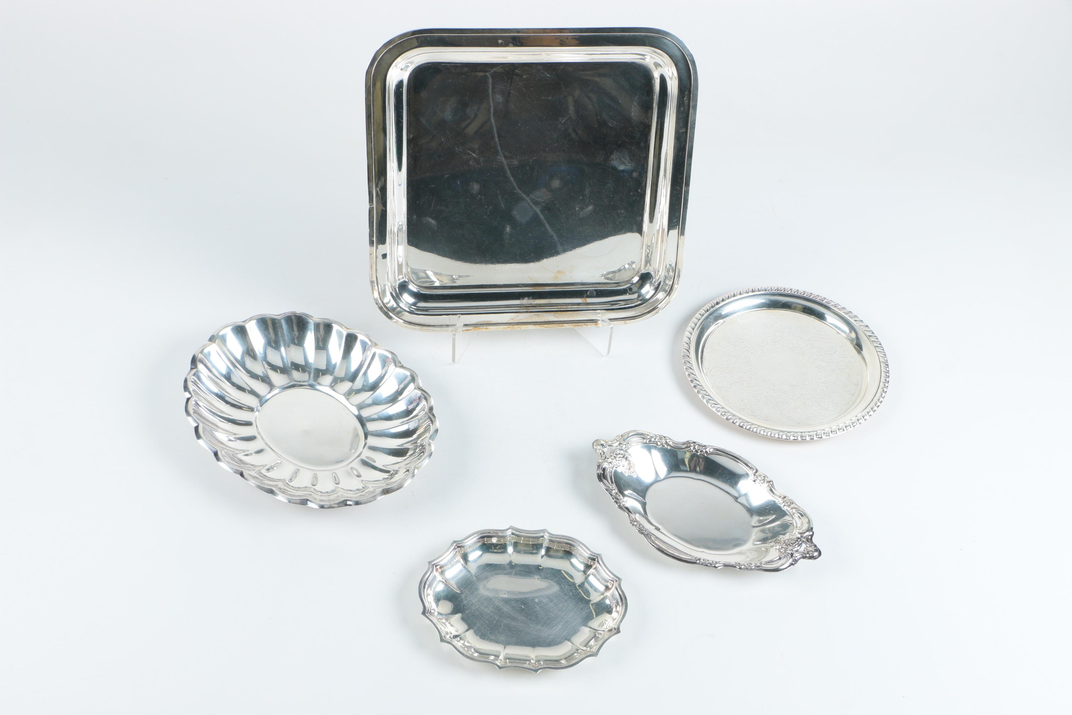 Community, Leonard, Reed & Barton, and Other Silver Plate Serving Trays