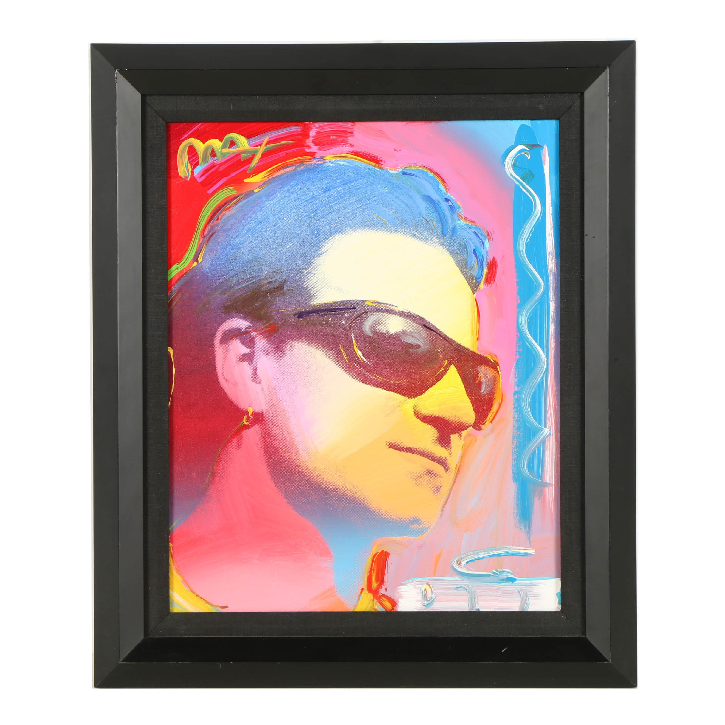 "Peter Max Hand Embellished Serigraph on Canvas ""Bono"""