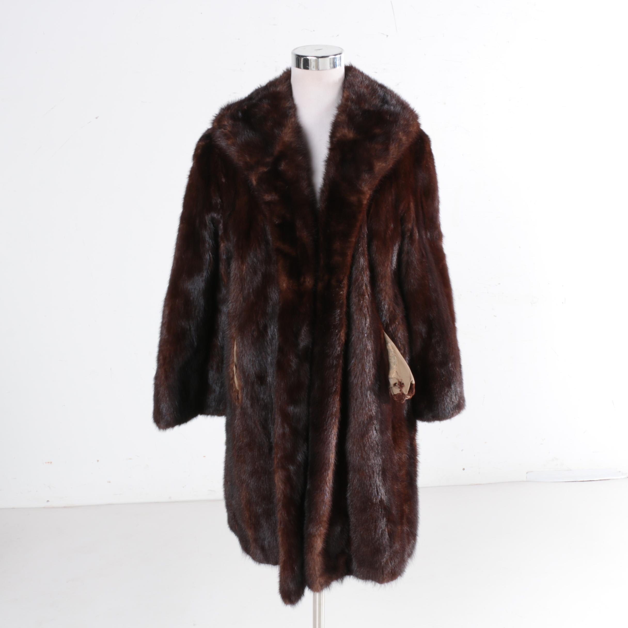 Vintage Dyed Chocolate Brown Mink Fur Coat