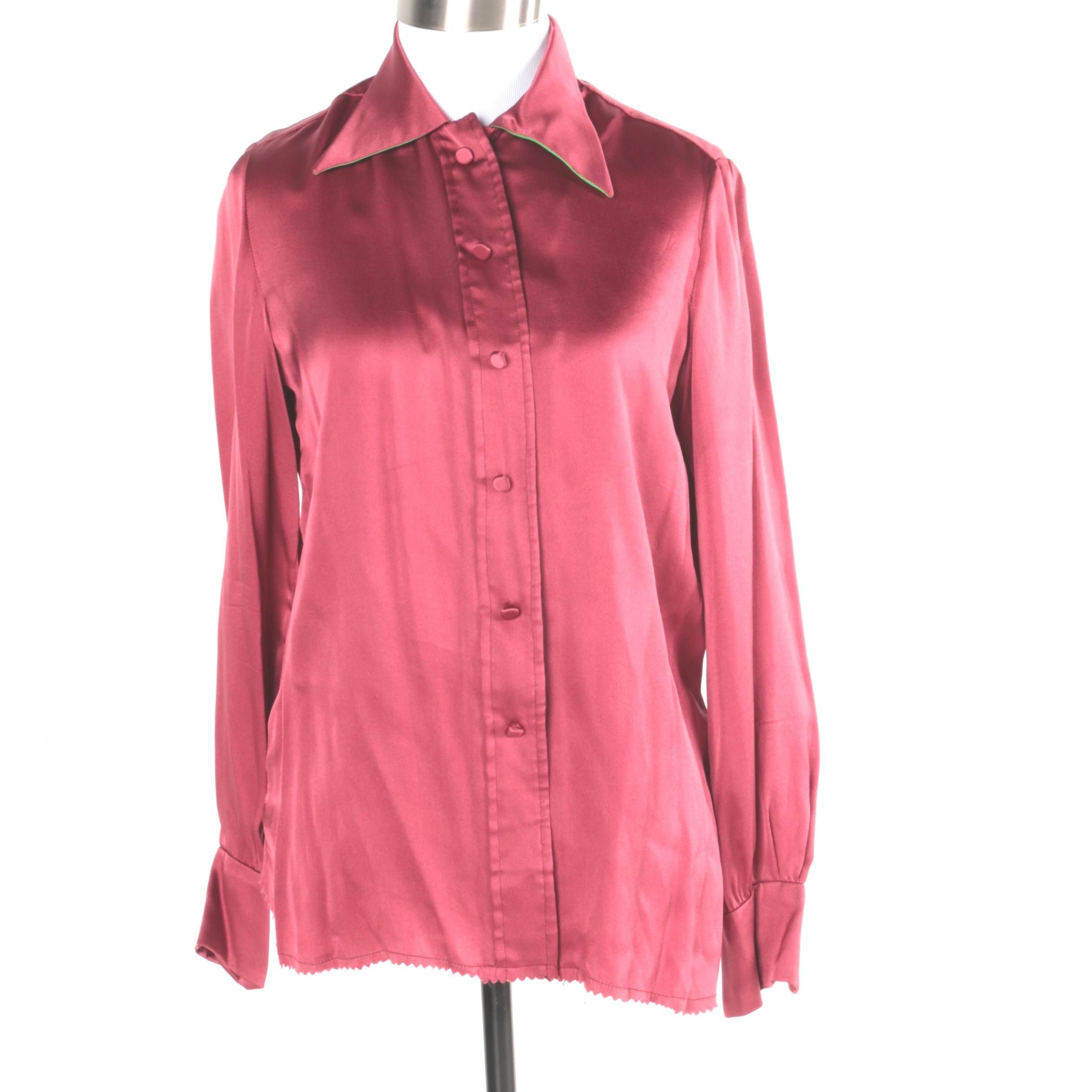 Women's Vintage Cardinali Silk Blouse