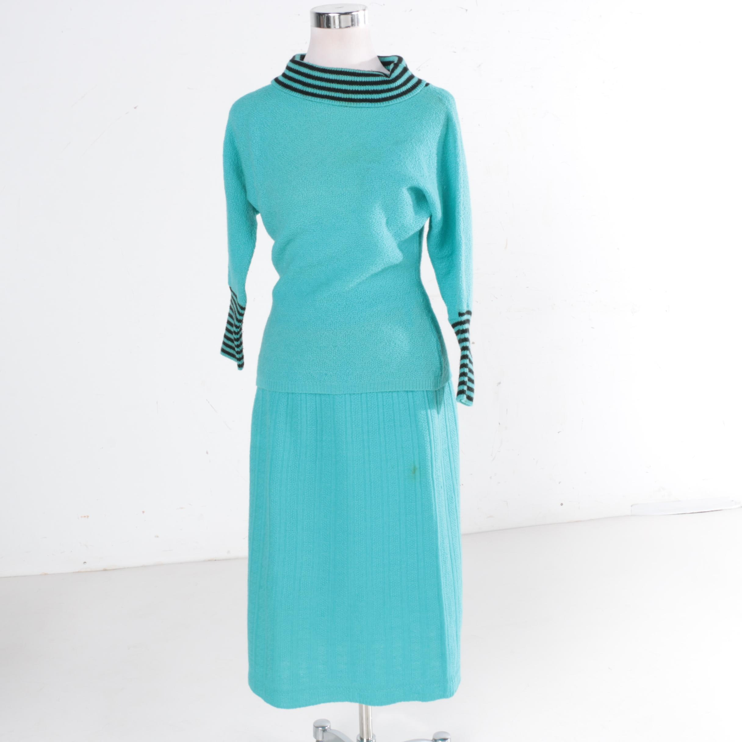 Vintage Ann Adams Original Zephyr Wool Skirt Set