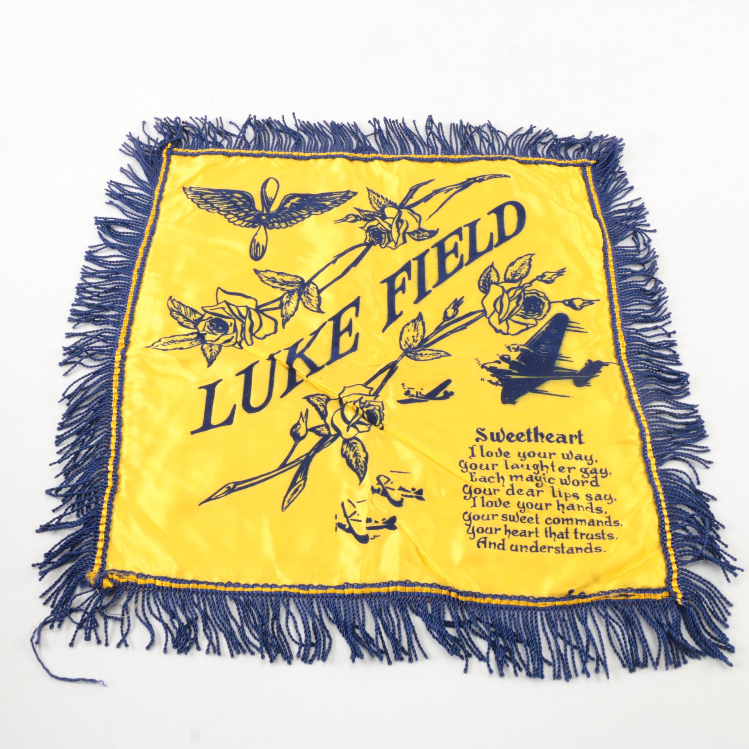 "Vintage ""Luke Field"" Souvenir Pillow Cover"