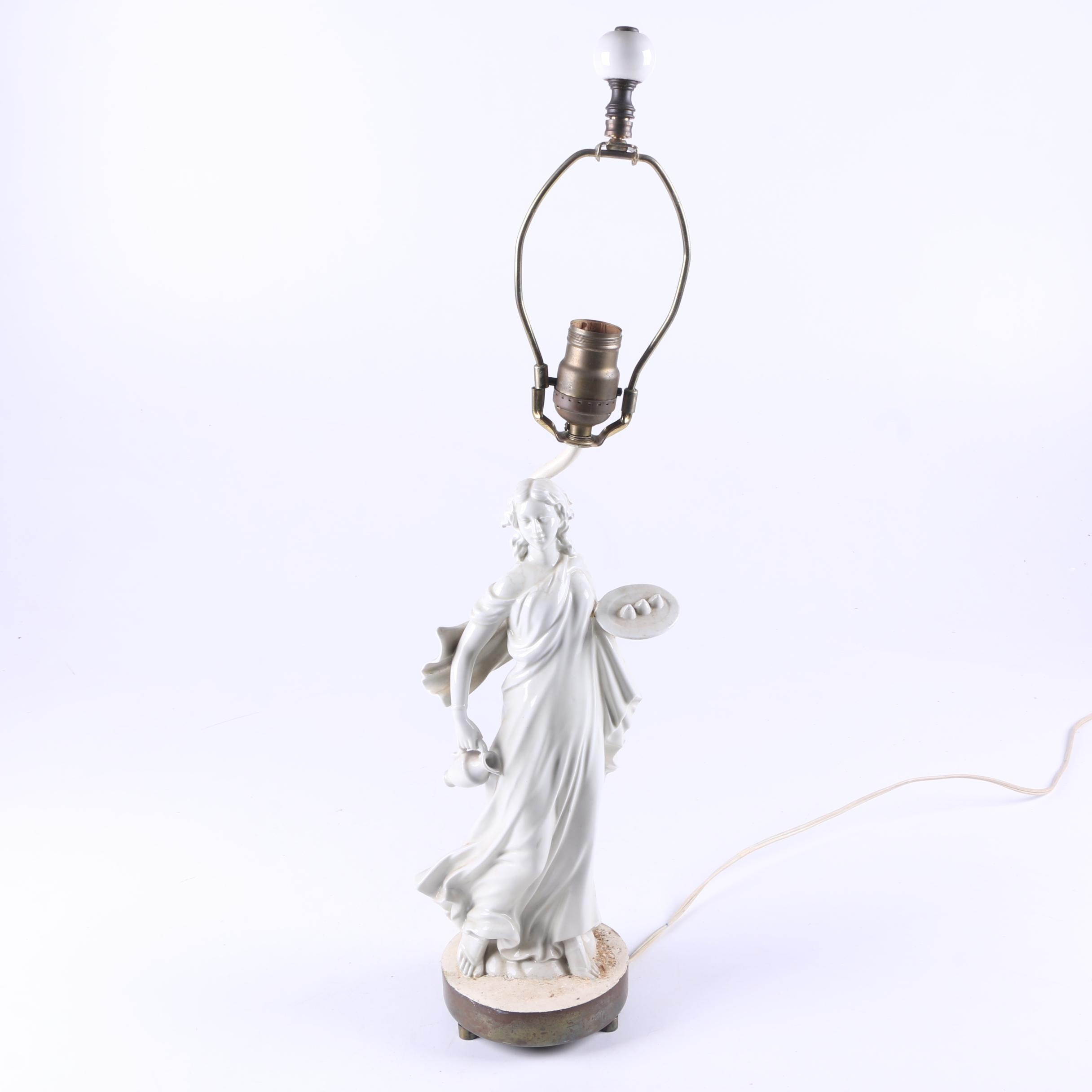 Vintage Porcelain Figural Table Lamp