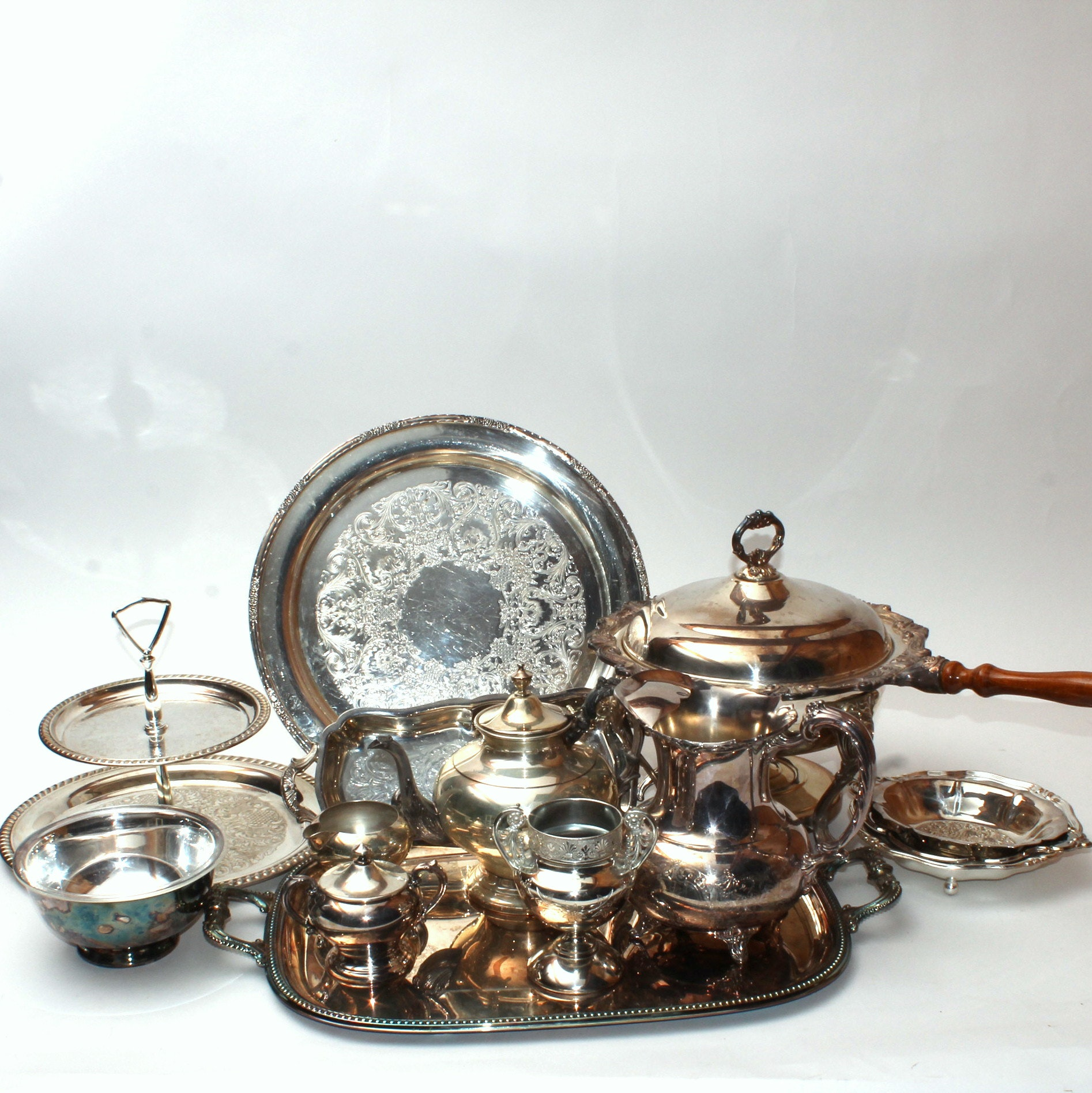 Silverplate Coffee Service and Serving PIeces