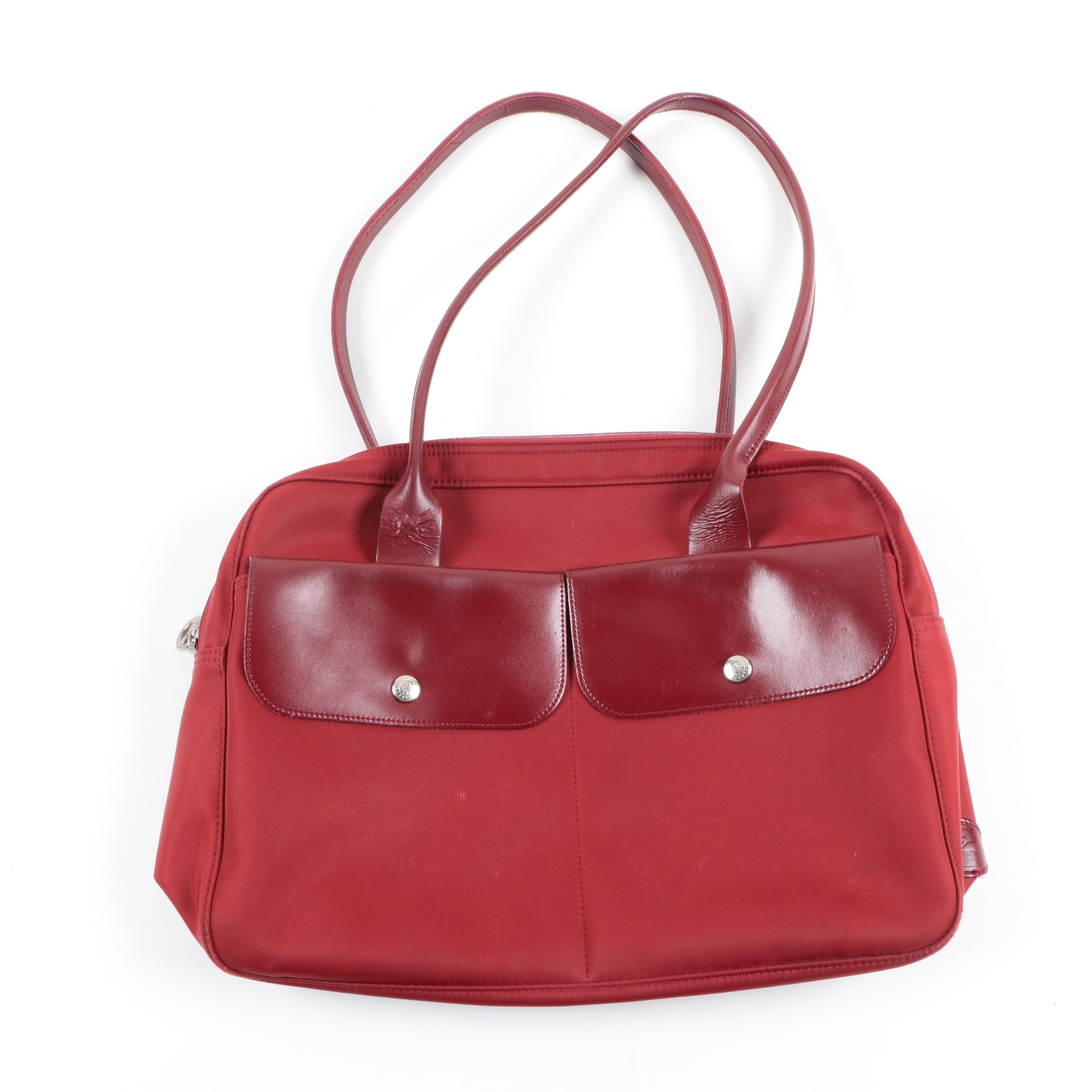 Longchamp Red Nylon and Leather Tote