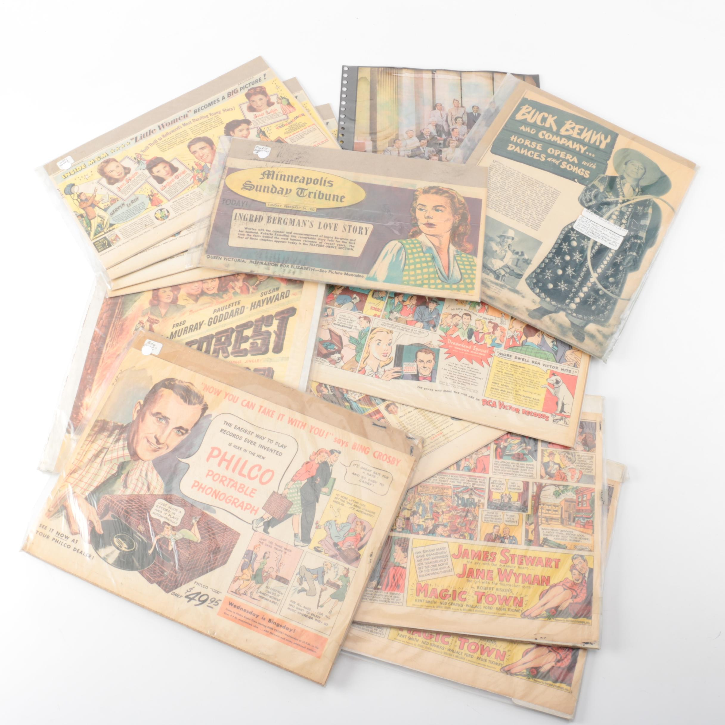 1940s–50s Movie and Product Ads Including Bing Crosby and Vaughan Monroe