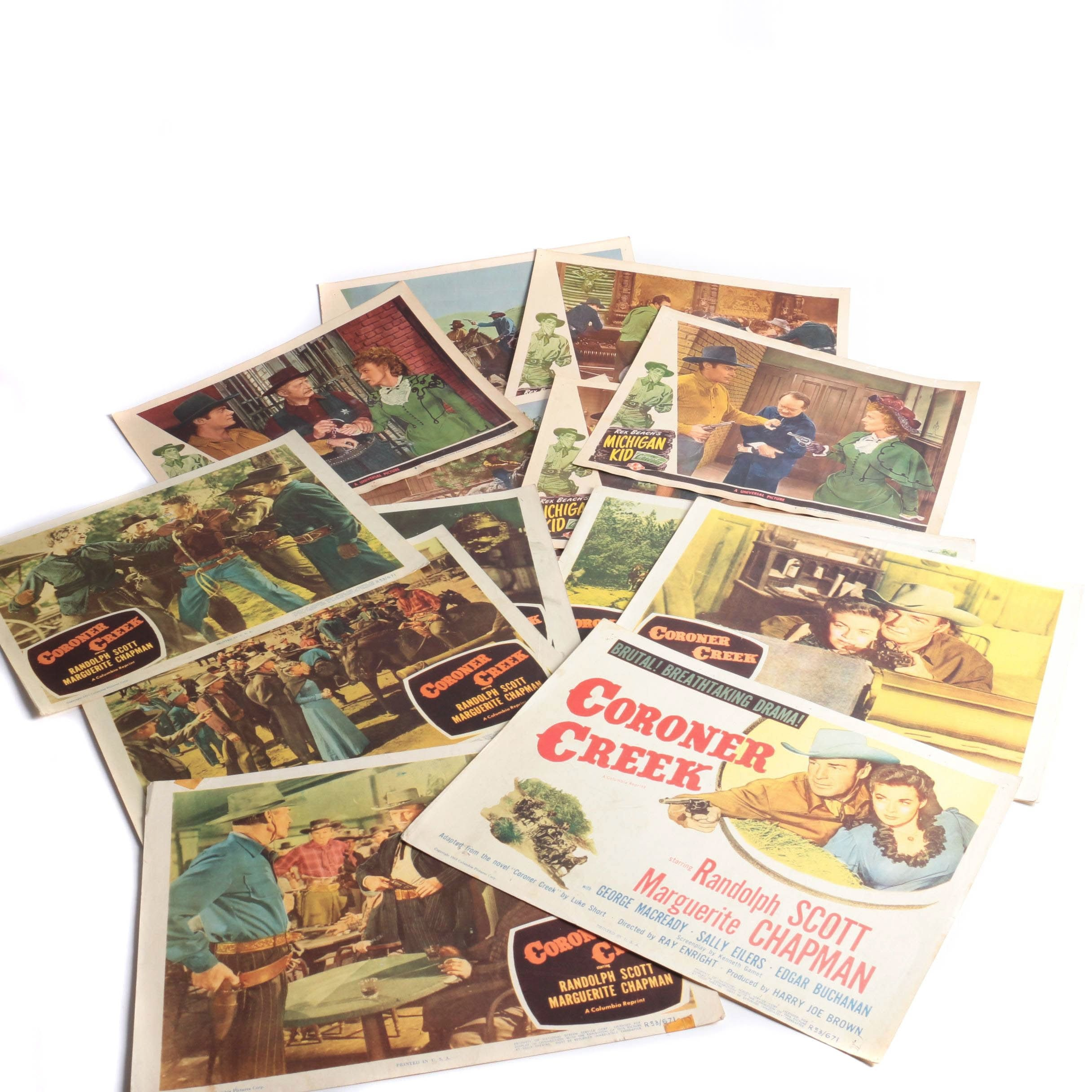 "Vintage ""Coroner Creek"" and ""Michigan Kid"" Feature Film Lobby Cards"