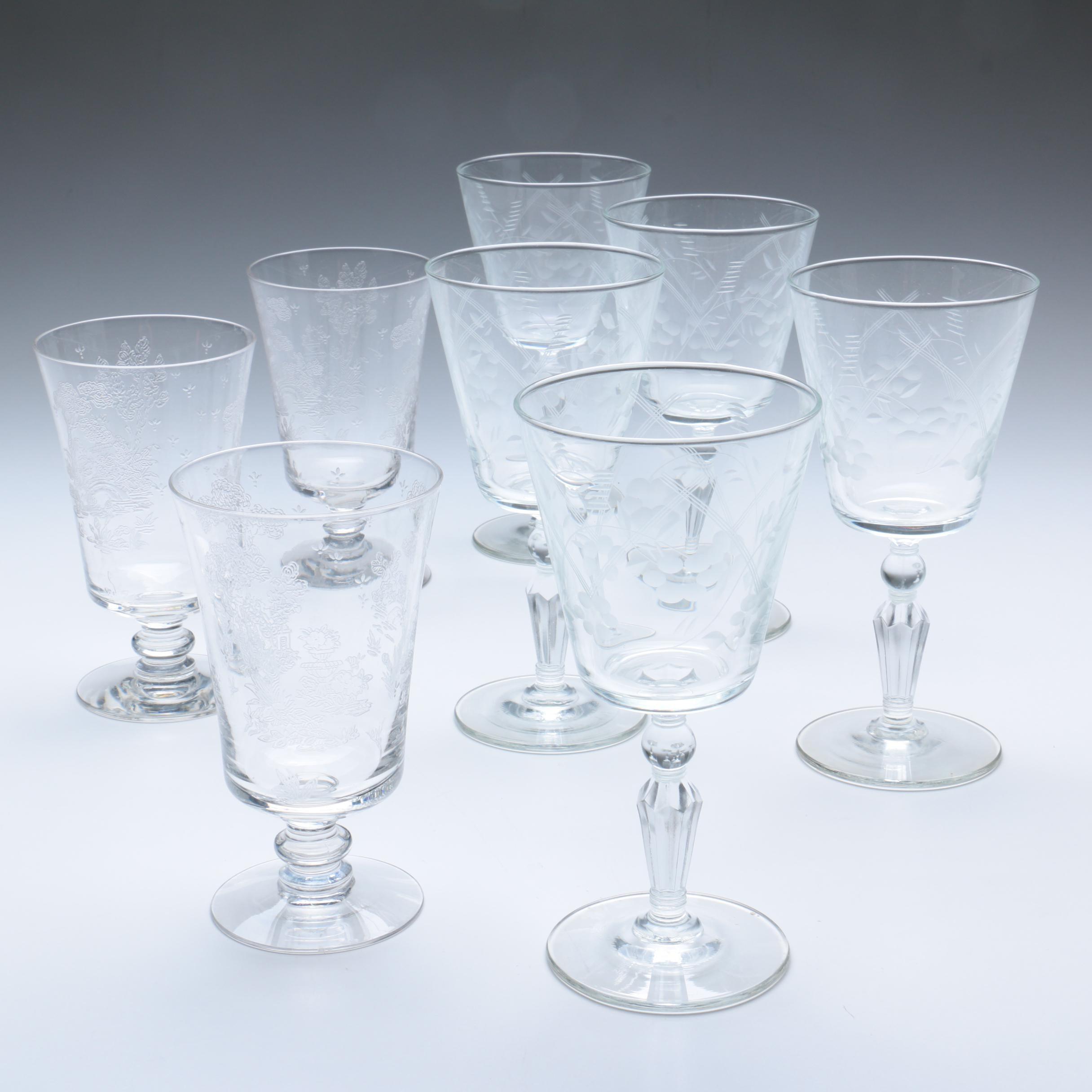 Floral Etched Barware Glasses