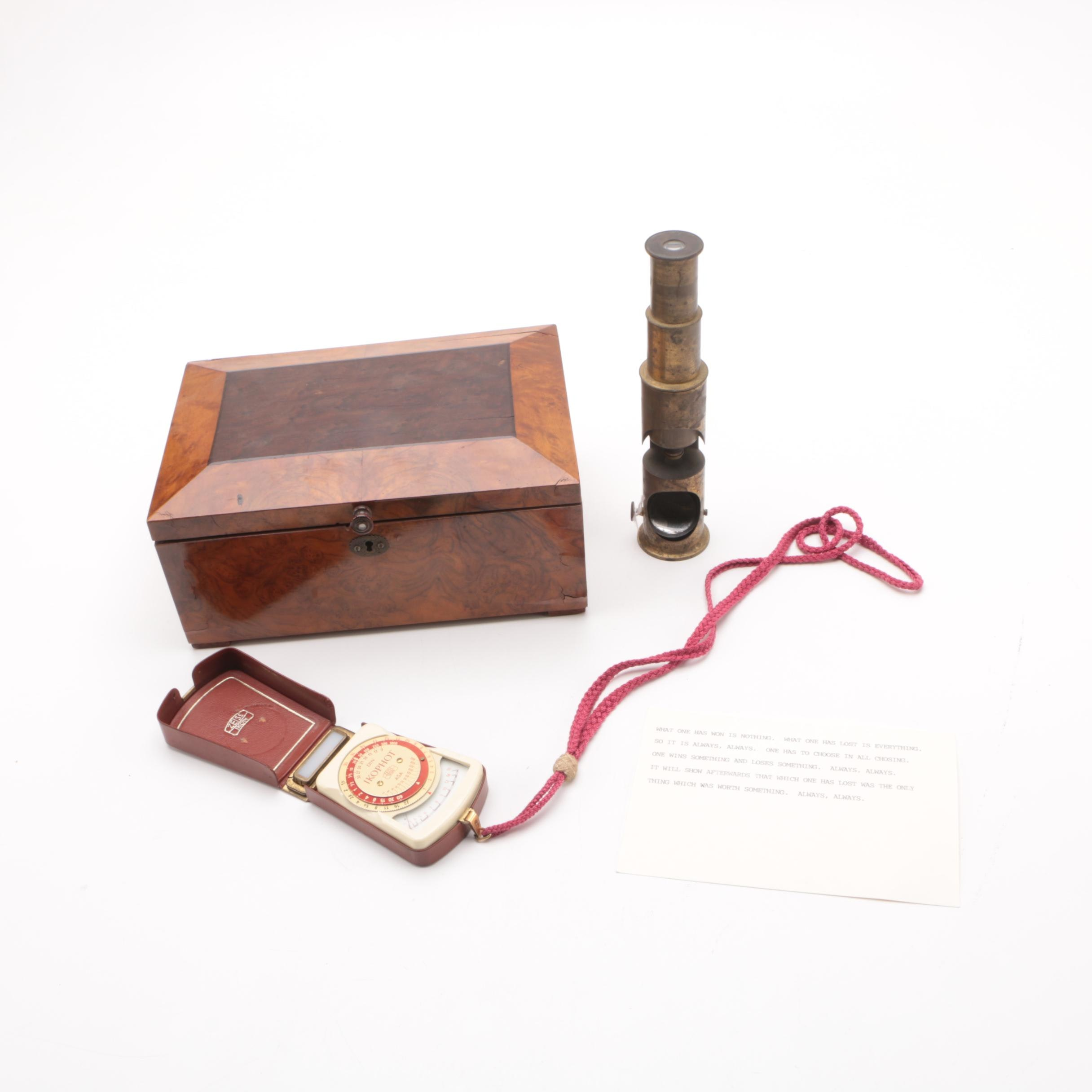 Antique Drum Microscope,Vintage Ikophot Light Meter and Wooden Box