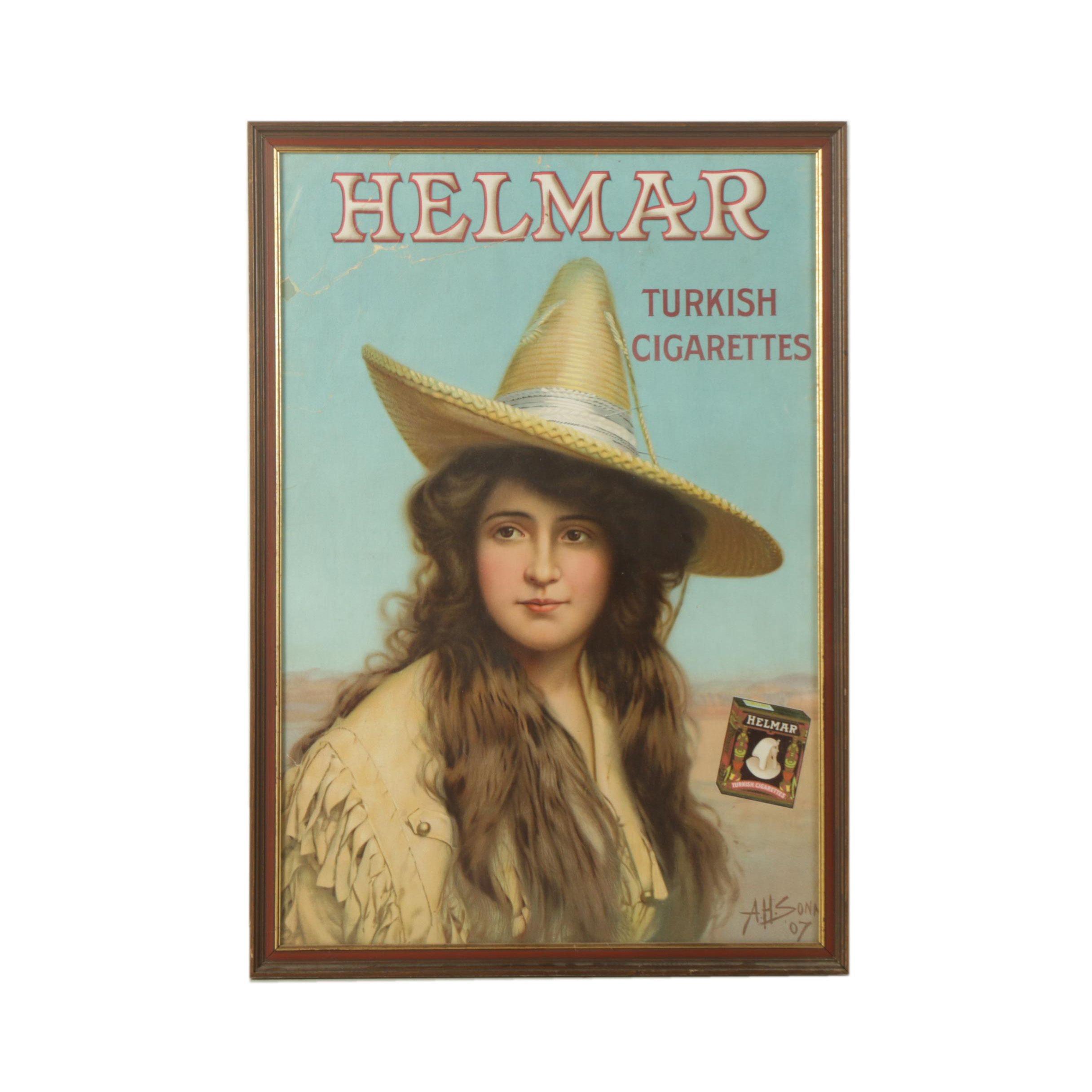 "A.H. Sonn Chromolithograph Poster ""Helmar Turkish Cigarettes"""