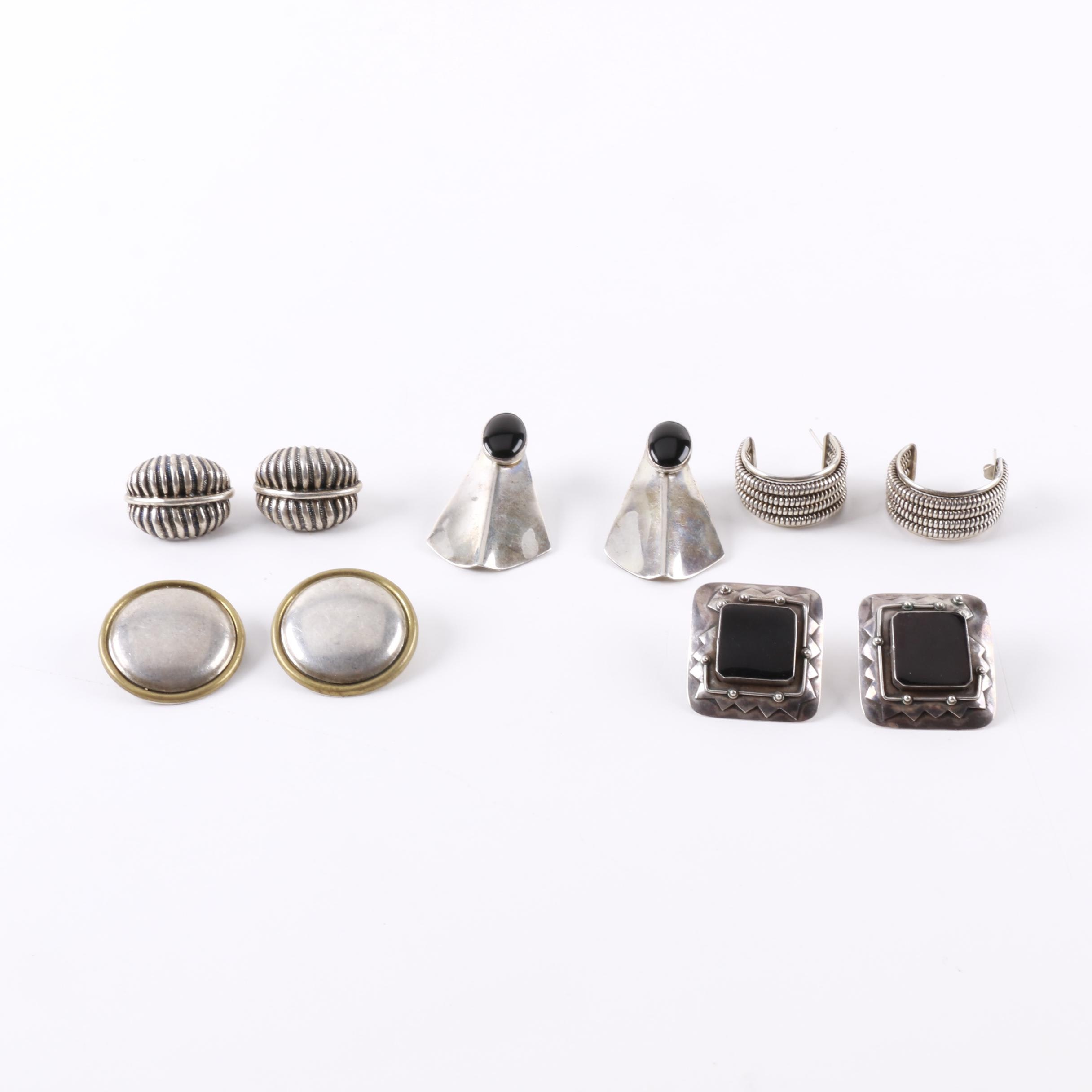 Assortment of Sterling Silver Earrings Including Onyx