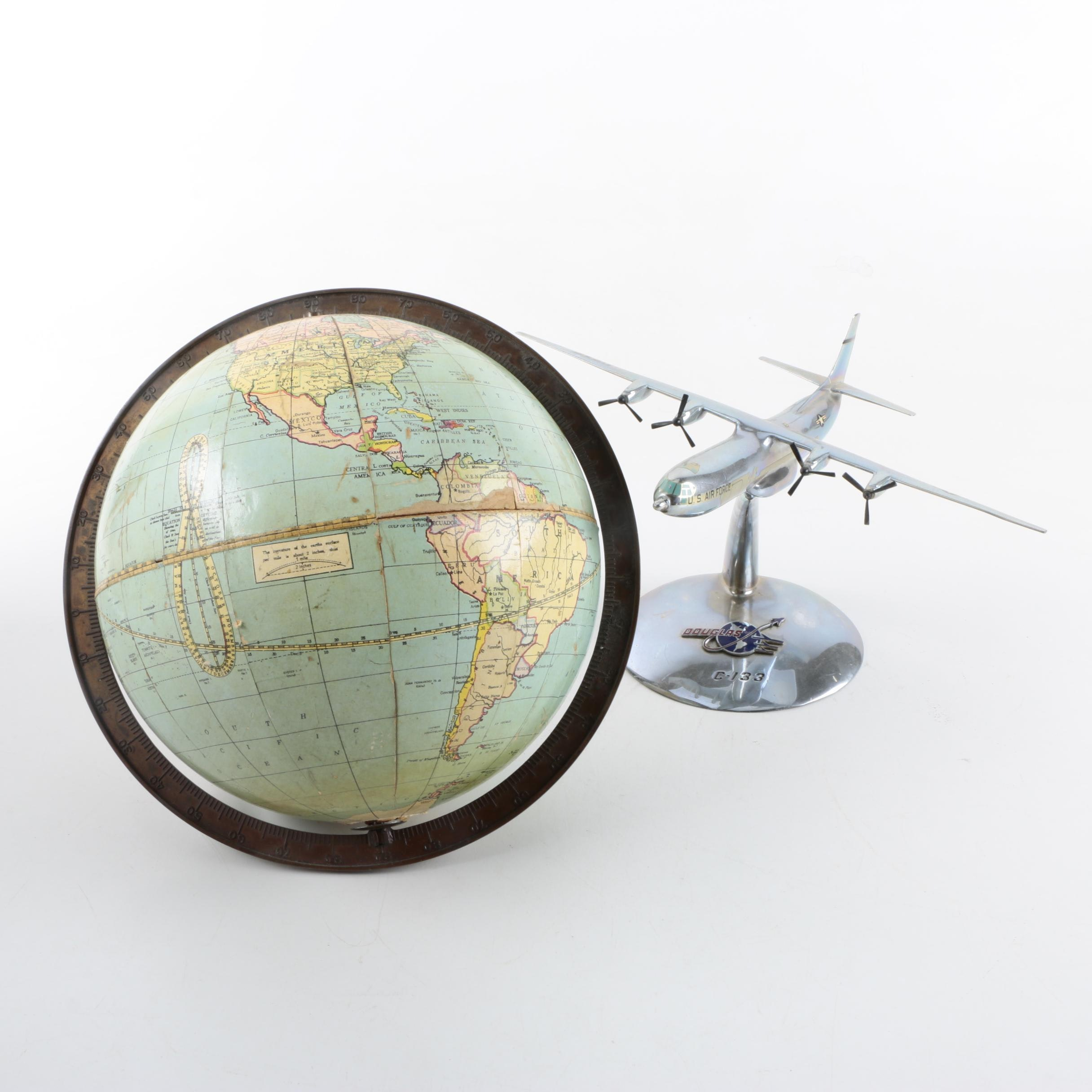 Metal Desk Plane Figure With Baseless World Globe